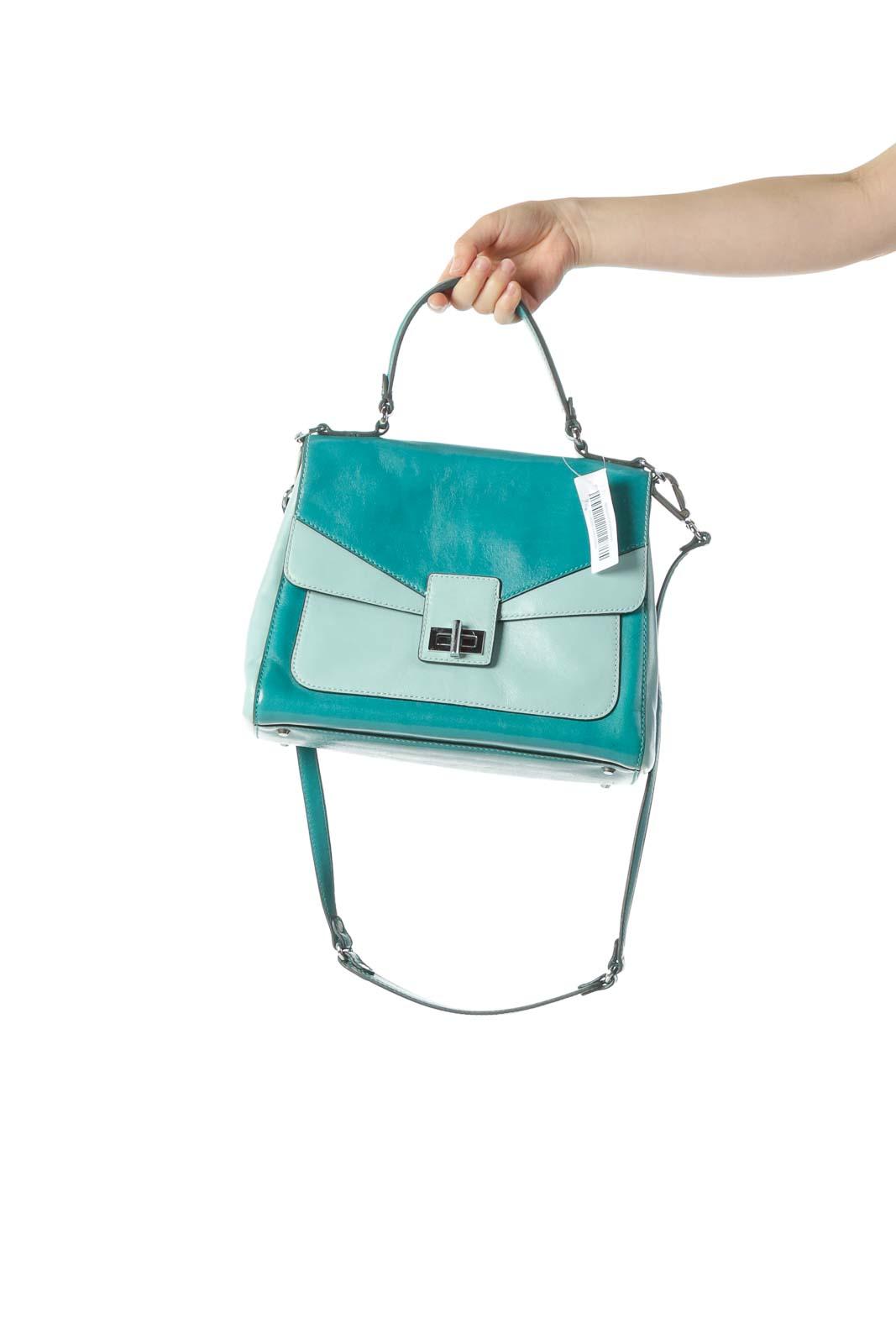 Green Color Block Crossbody Bag Front