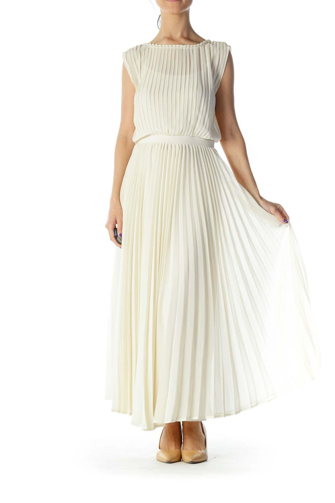Cream Pleated Maxi Dress Front