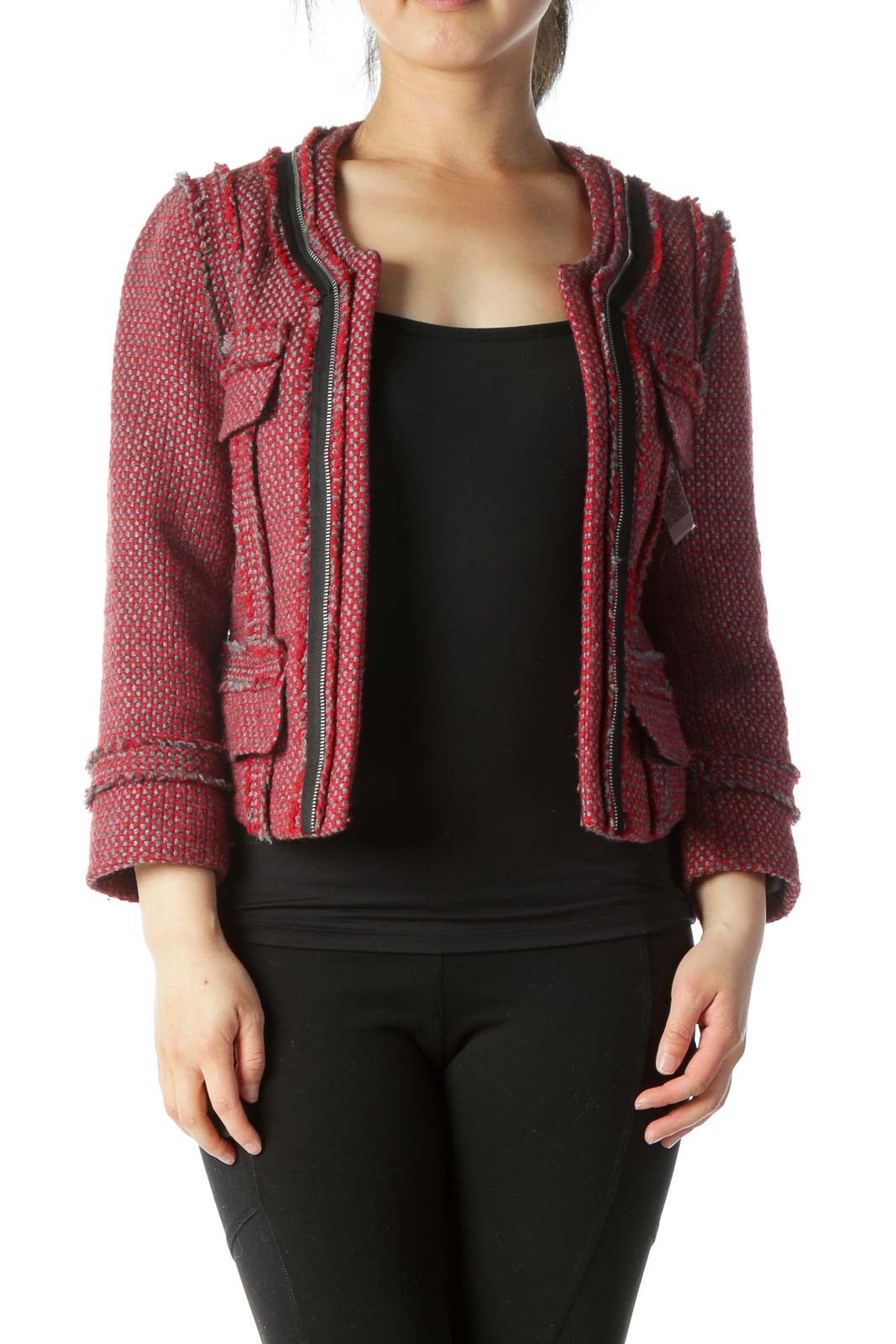 Red, Grey, and  Black Round Neck Frill Jacket Front