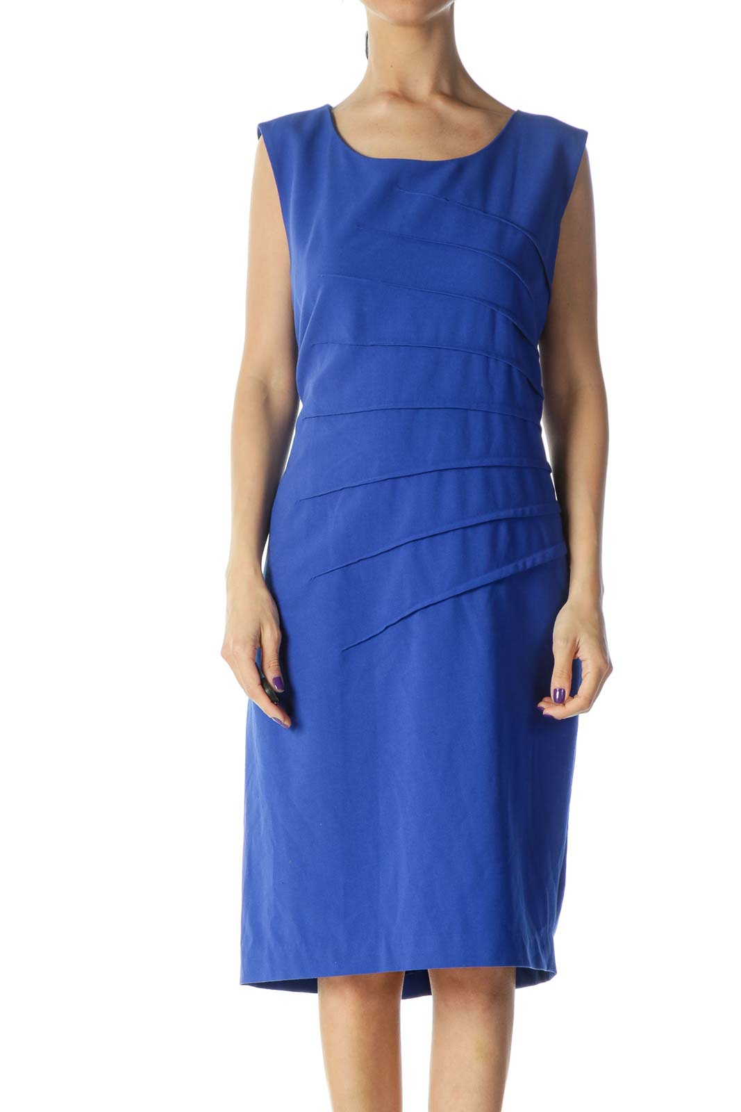 Blue Sheath Work Dress Front