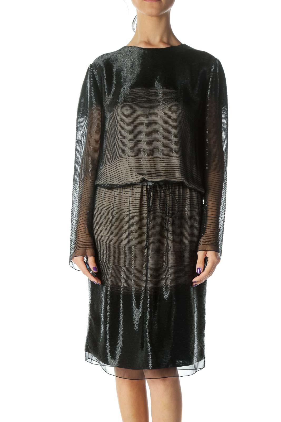 Black Sequin Detail Midi Dress  Front
