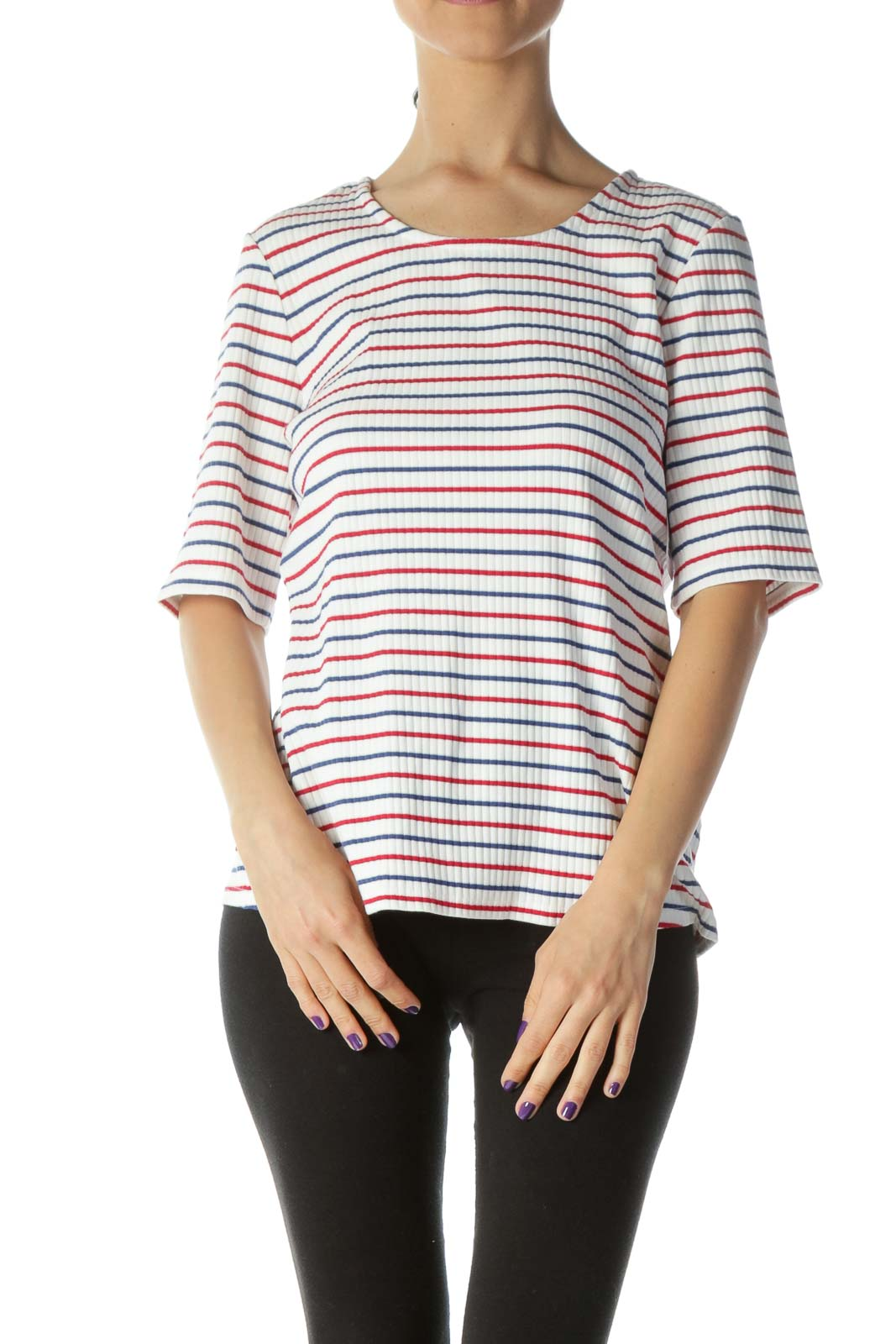 Red White & Blue Striped Ribbed Short Sleeve Knit Top Front