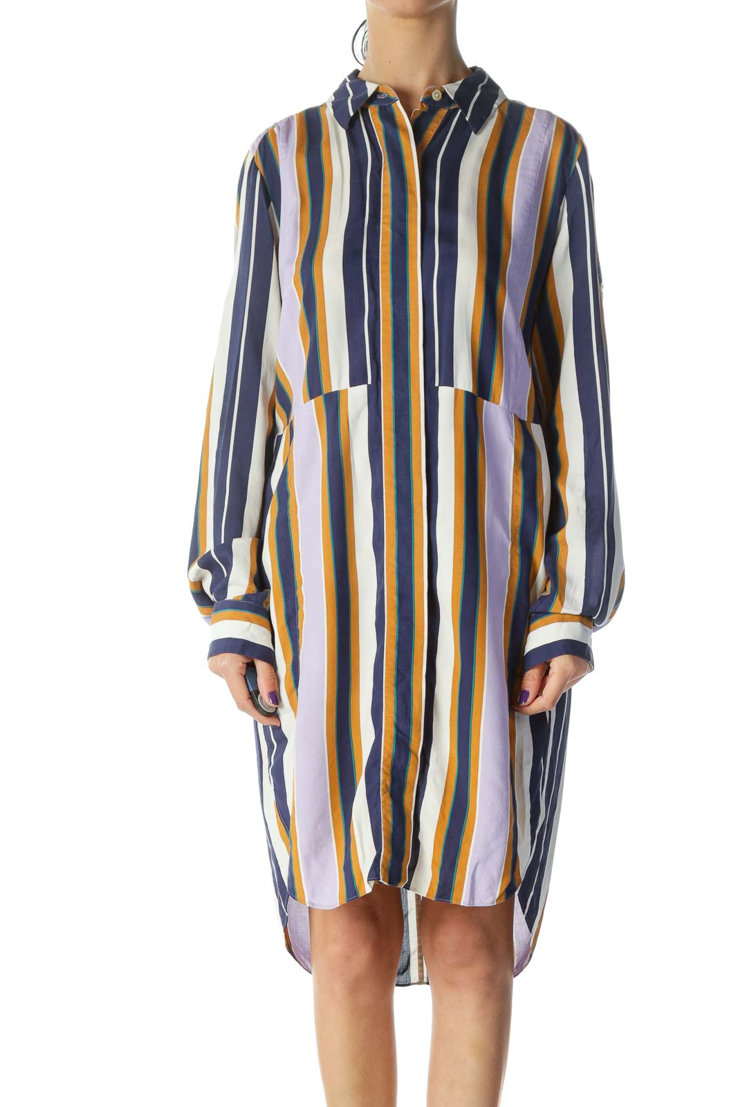 Multicolored Shirt Dress Front