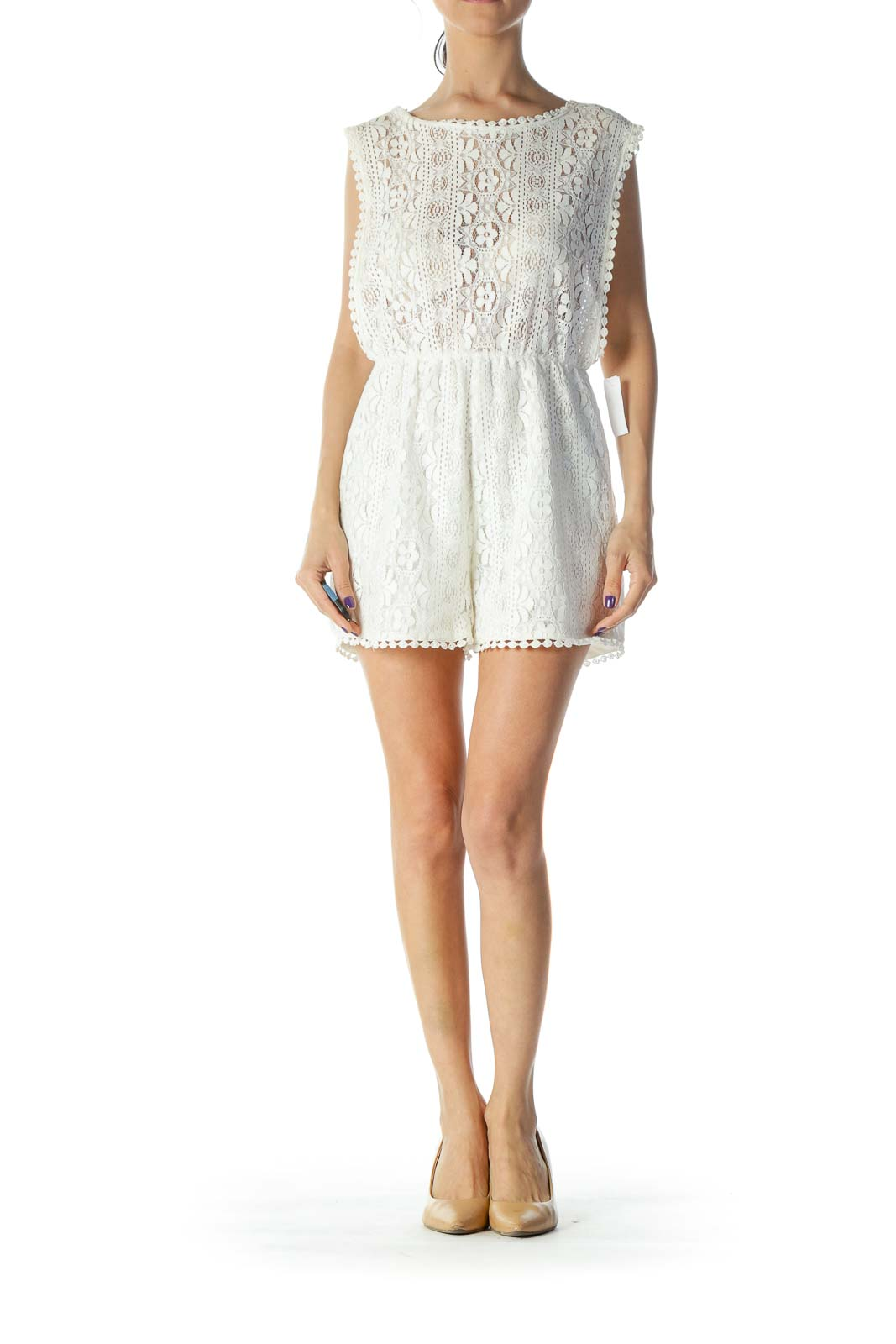 White Lace Romper Front