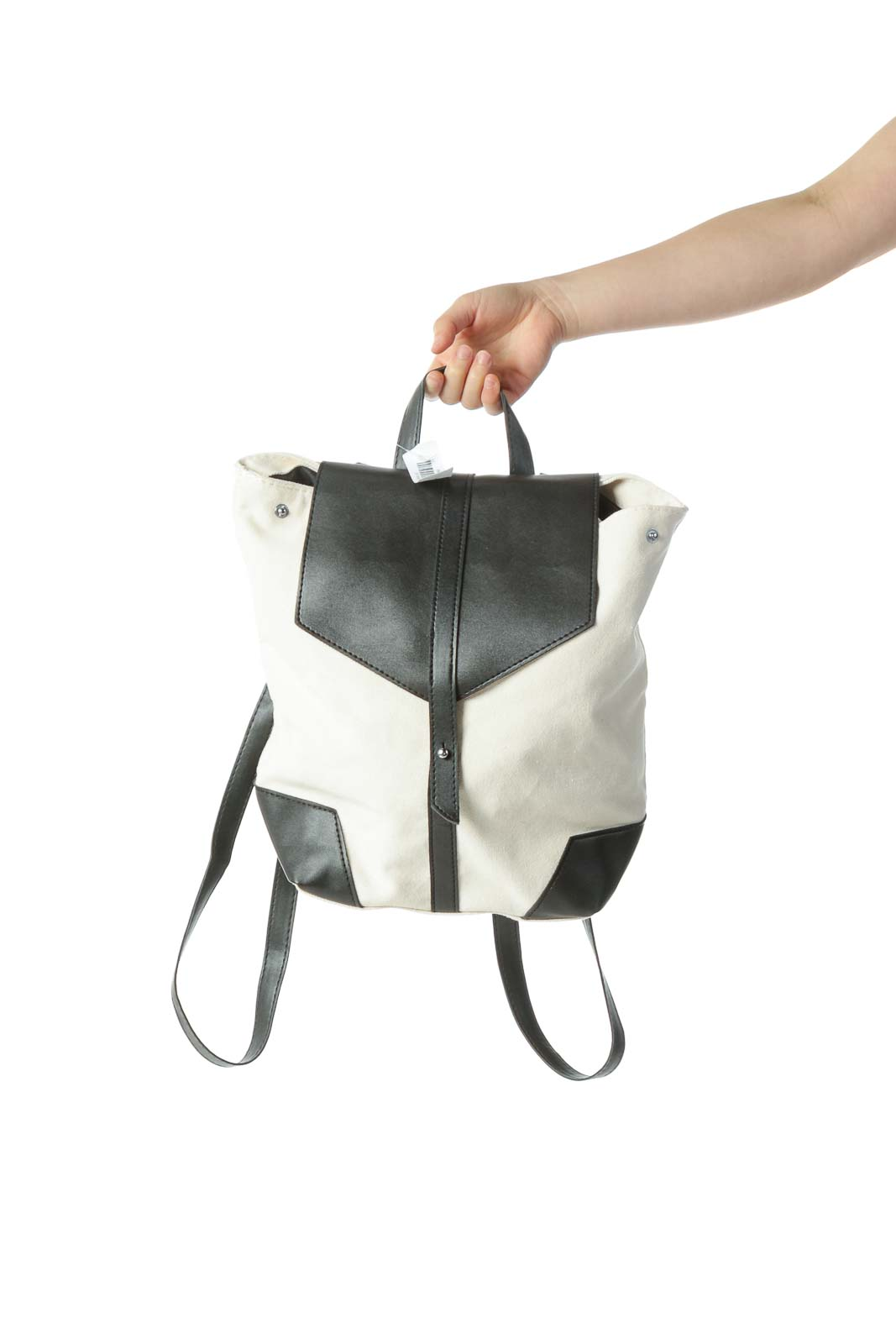 Cream Vegan Leather Backpack Front