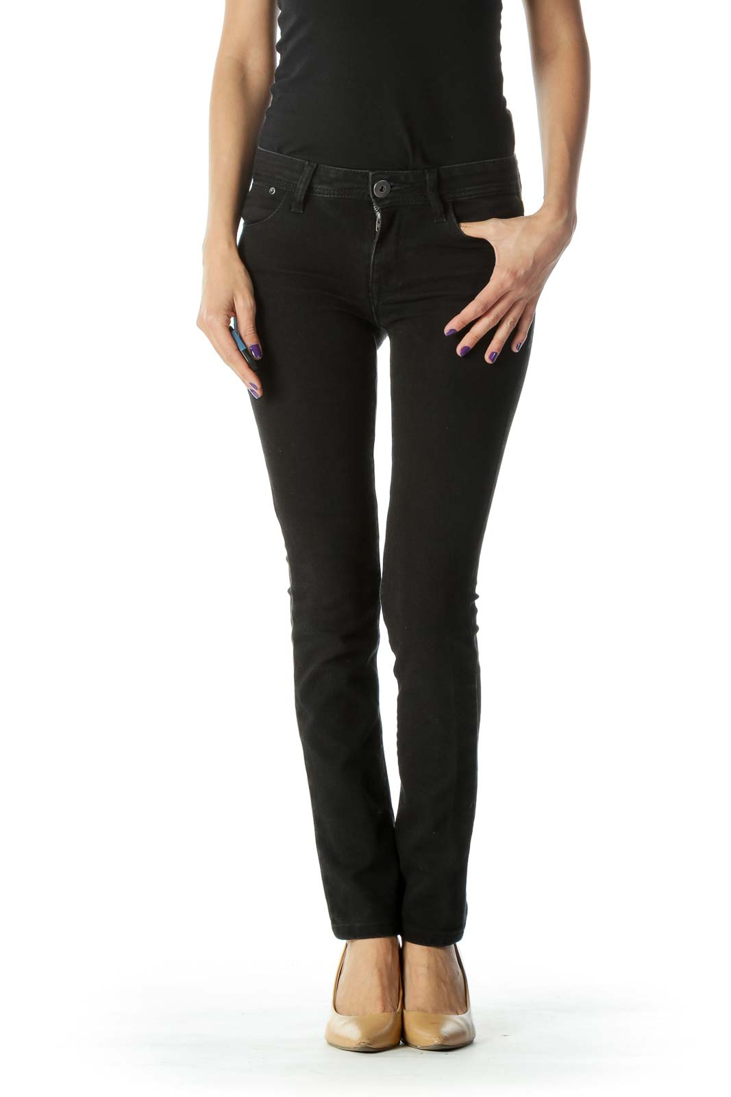 Black Stretchy High- Waist Straight Leg Jeans Front