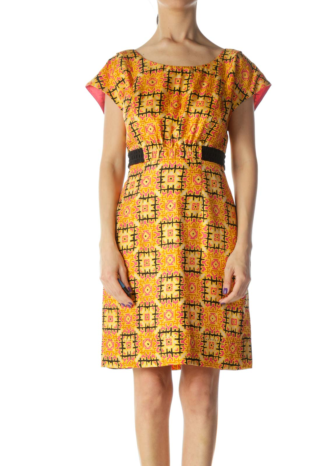 Orange and Multicolored Pattern Silk Work Dress Front
