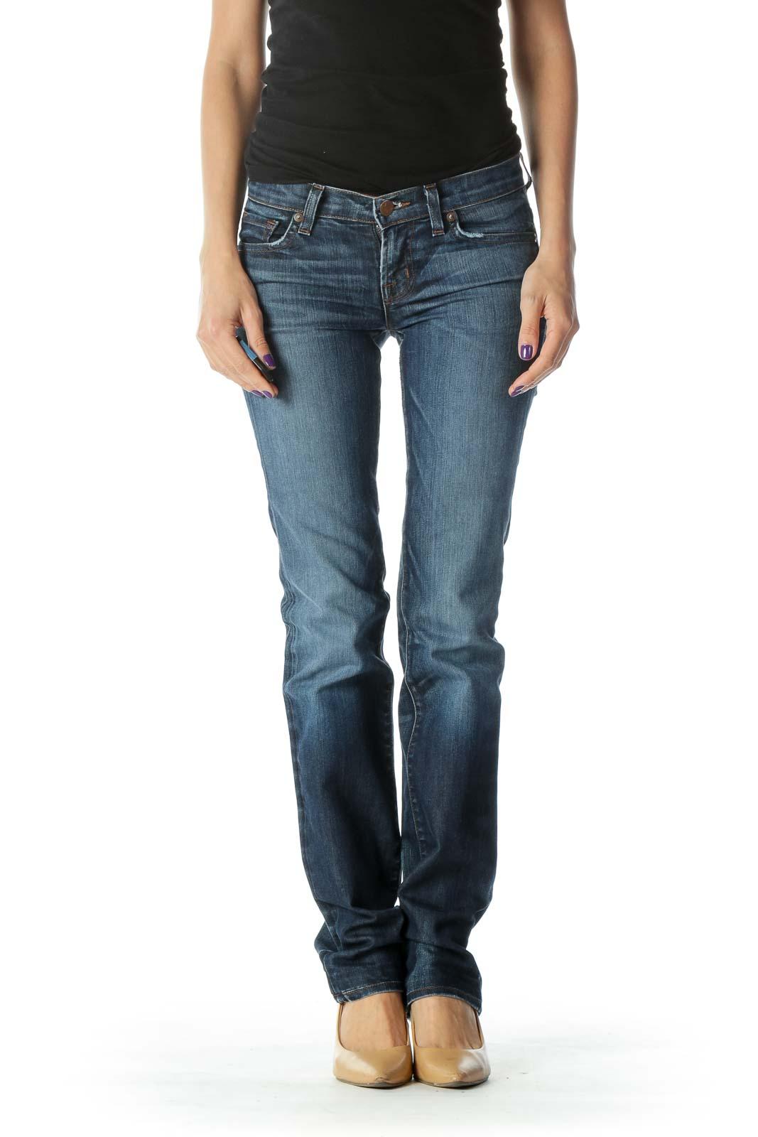 Blue Dark Wash Straight Leg Jean Front