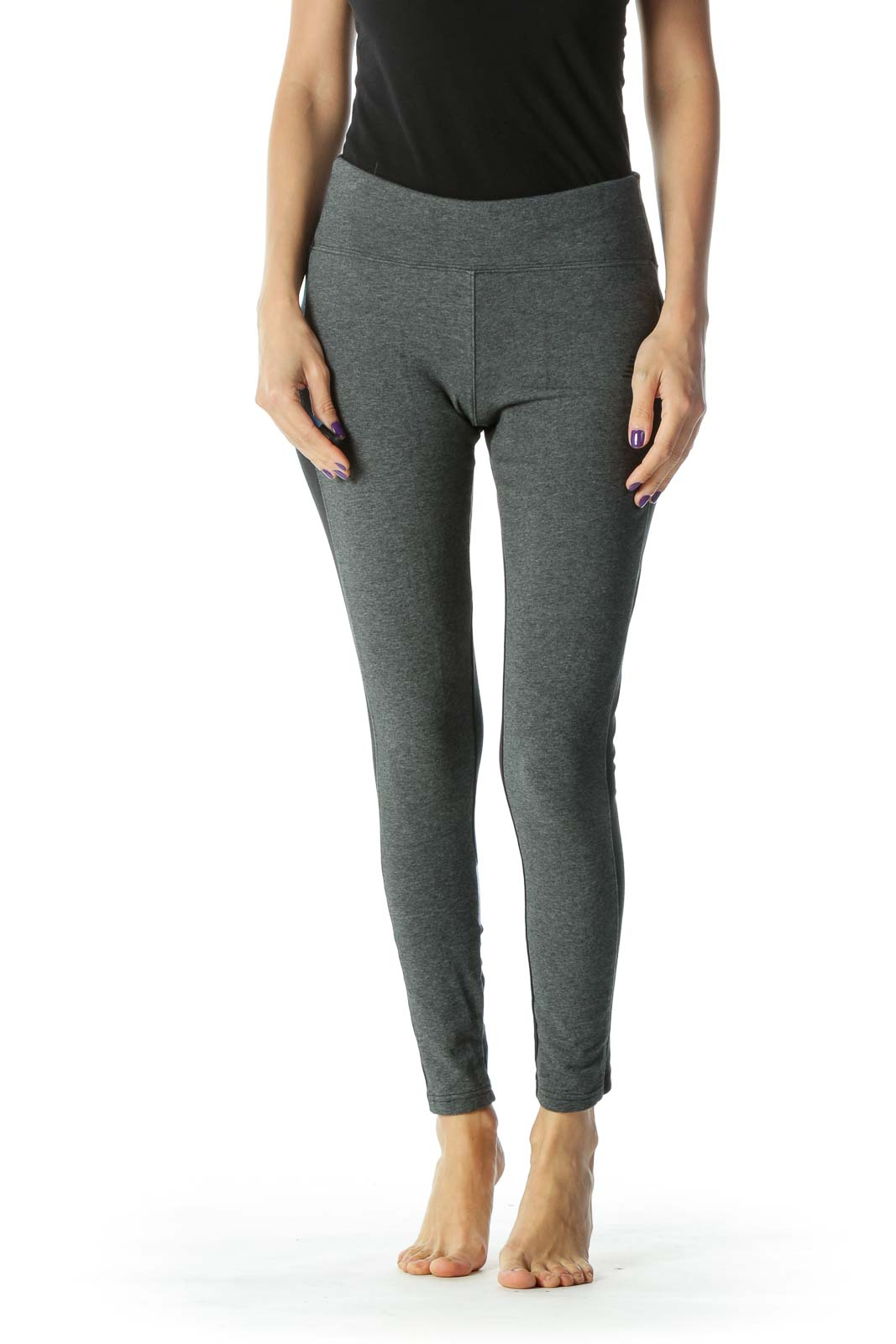 Black and Grey Cropped Legging Front