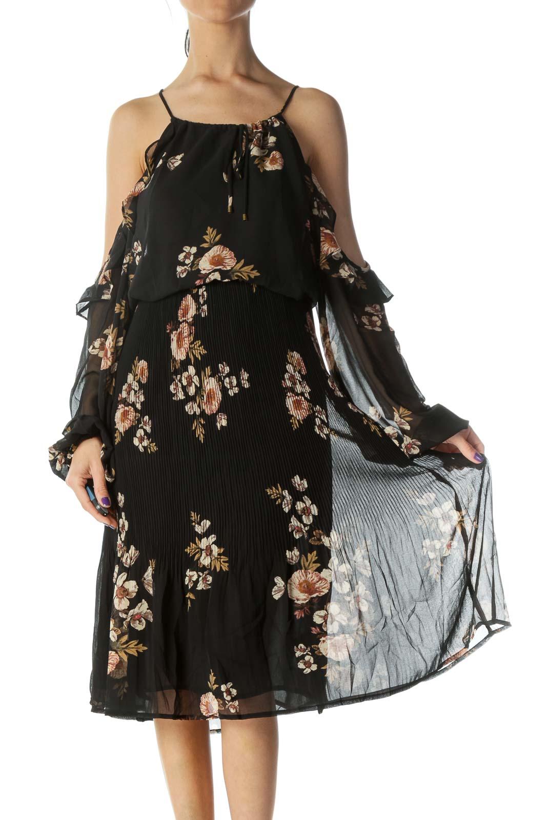 Black Floral Print Cold Shoulder Day Dress Front
