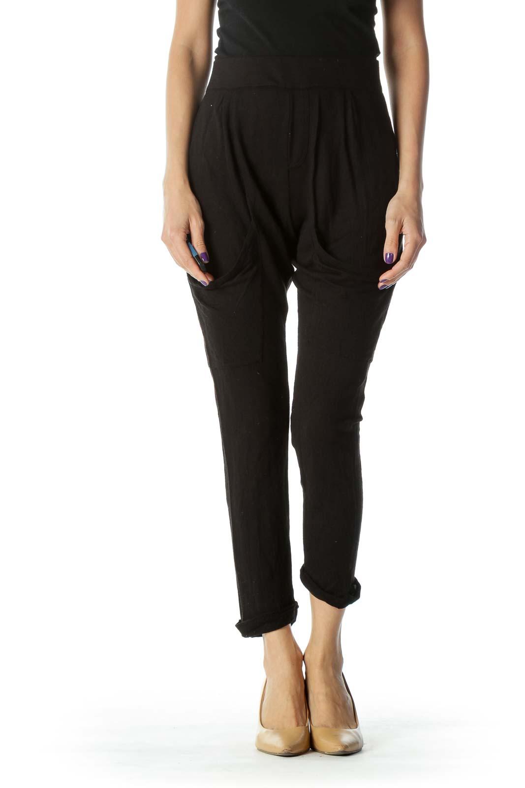 Black Slim Fit Dropped Pocket Cropped Pant Front