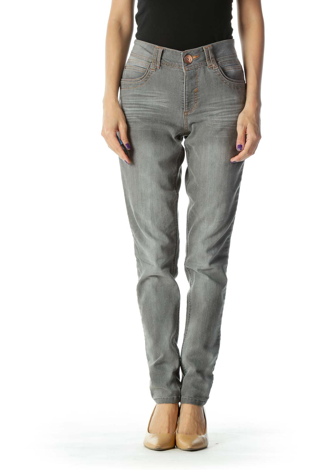 Gray Light Wash Skinny Jeans Front