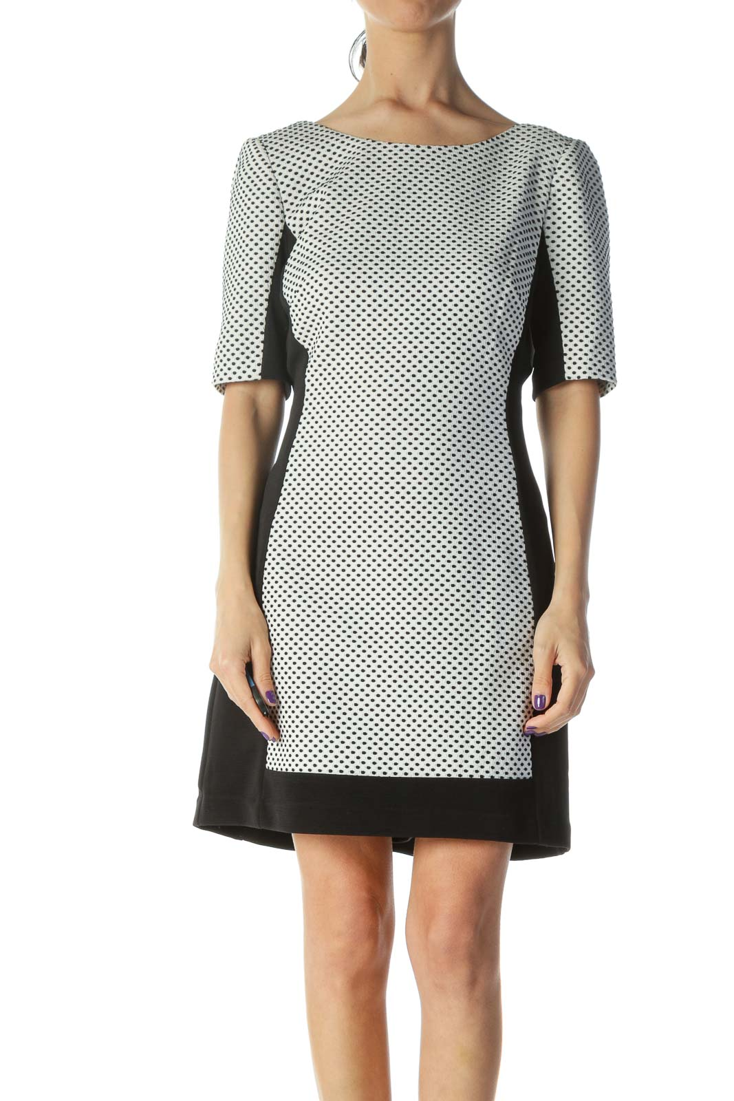 Black Cream Printed Sheath Dress Front