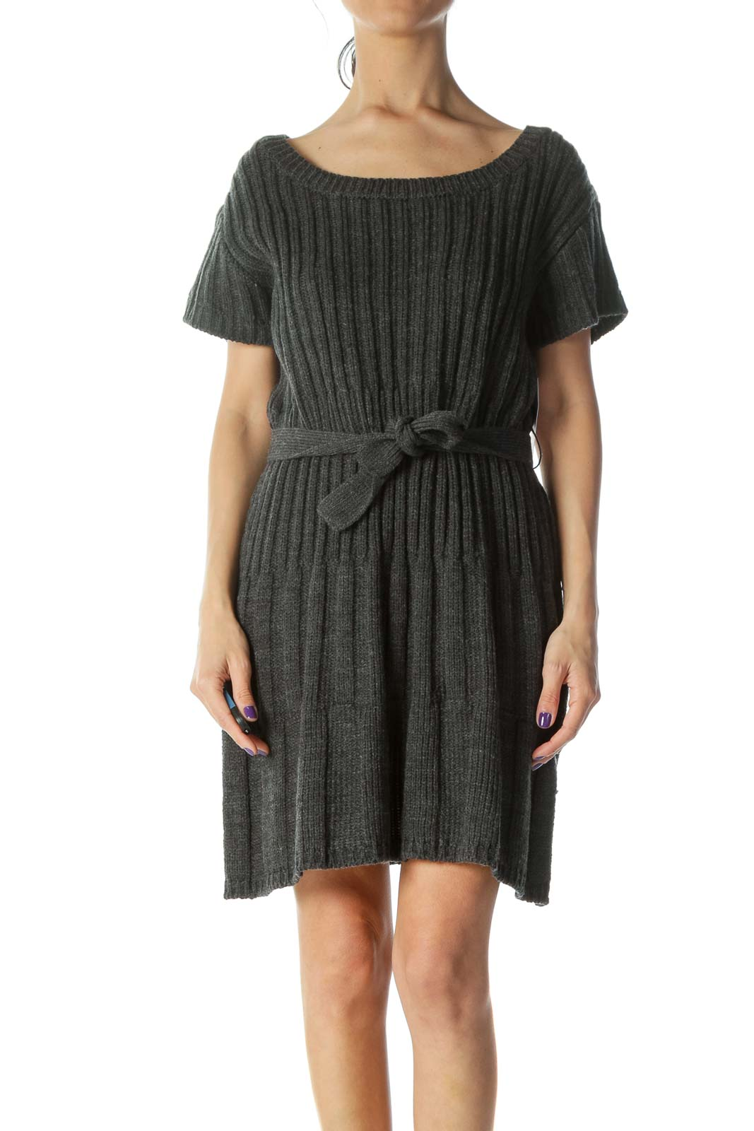 Gray Sweater Dress Front
