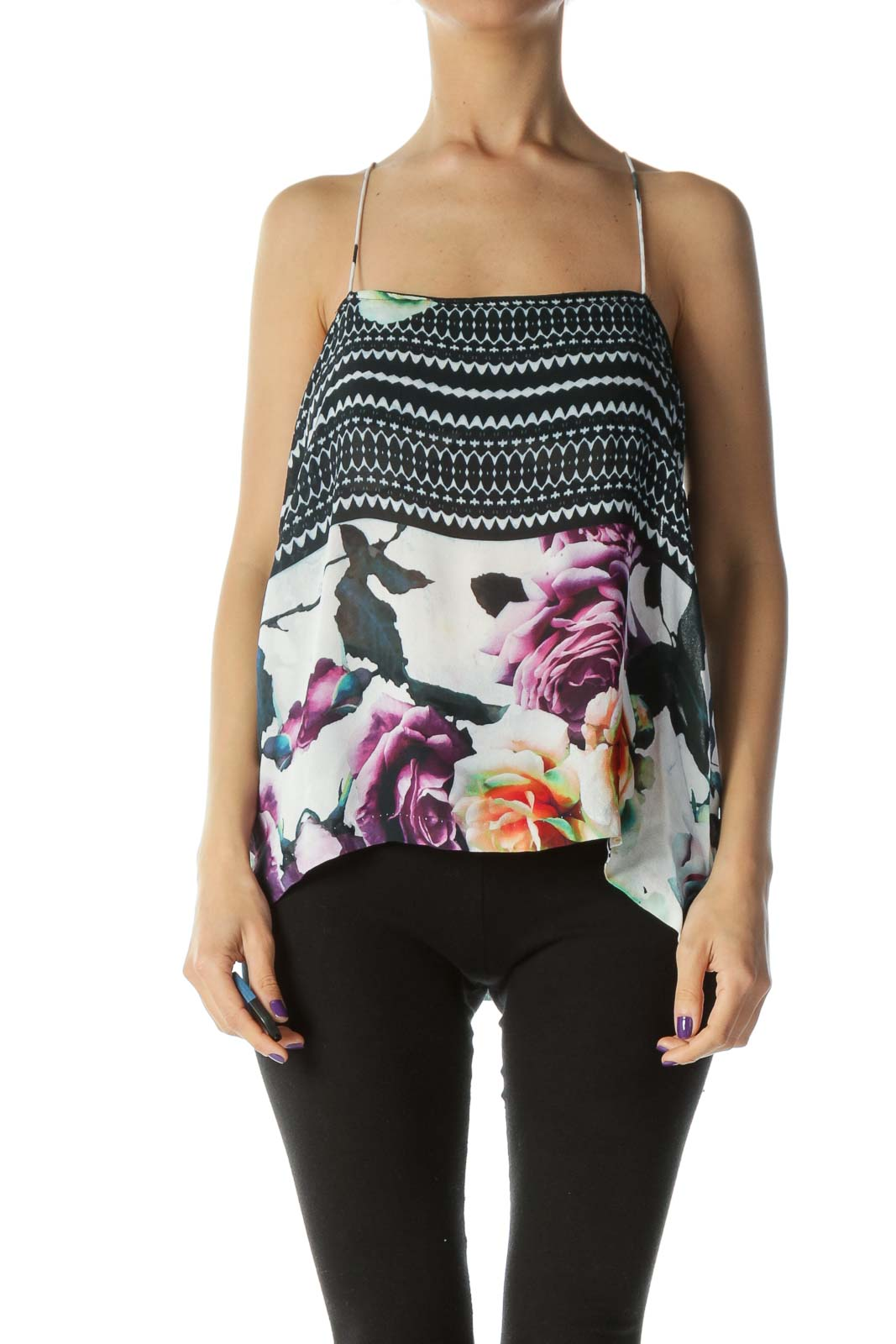 Black Printed Silk Camisole Front