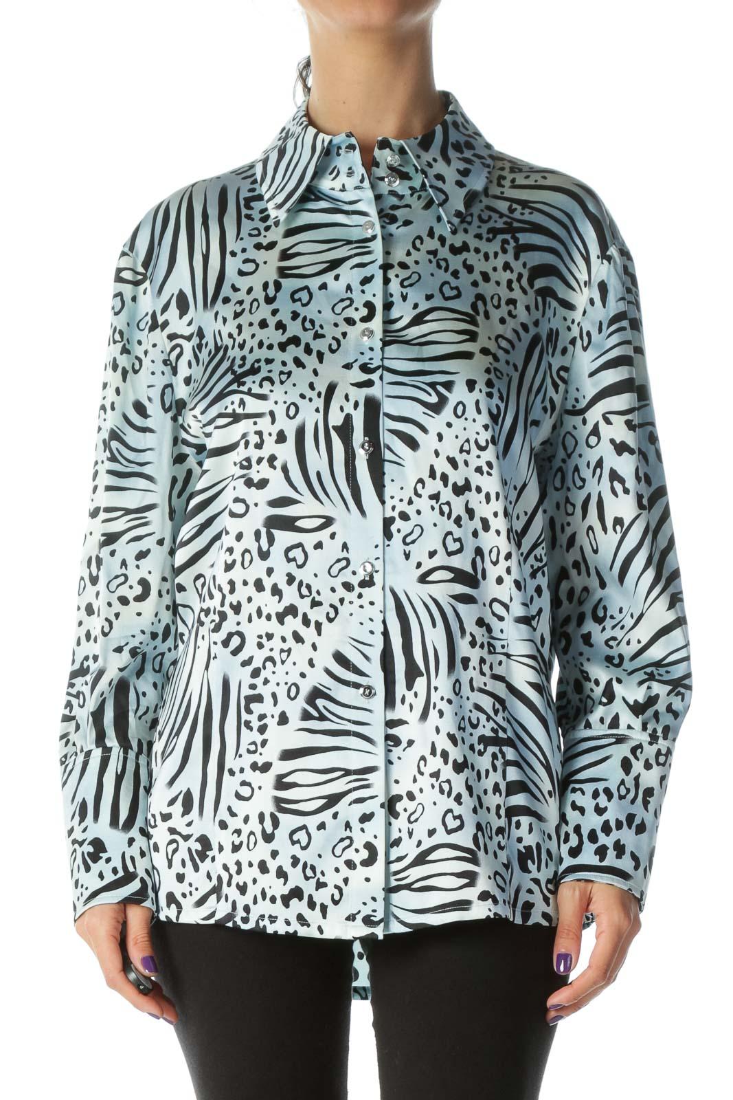Blue Silk Printed Shirt Front