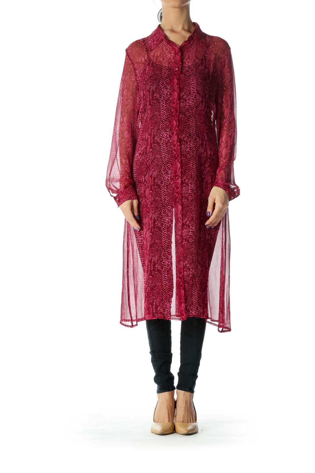 Burgundy Silk Work Dress Front