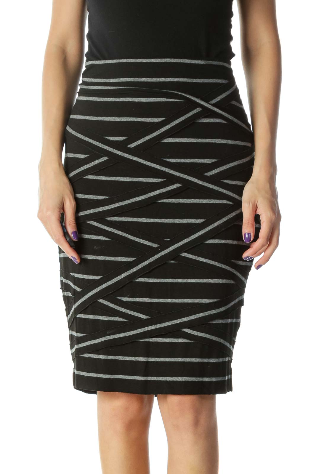 Black Striped Jersey Skirt Front