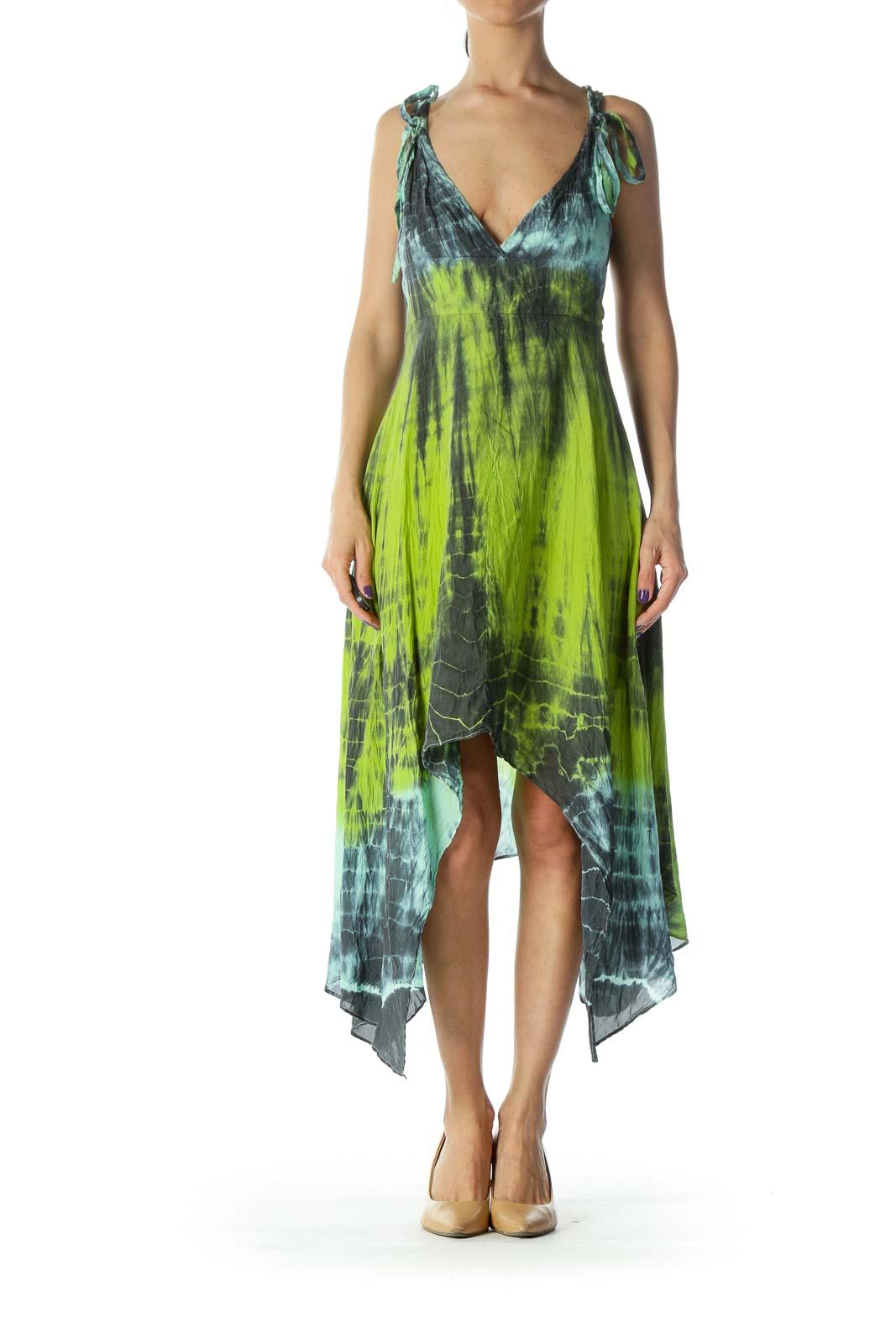 Green Print Silk Dress Front
