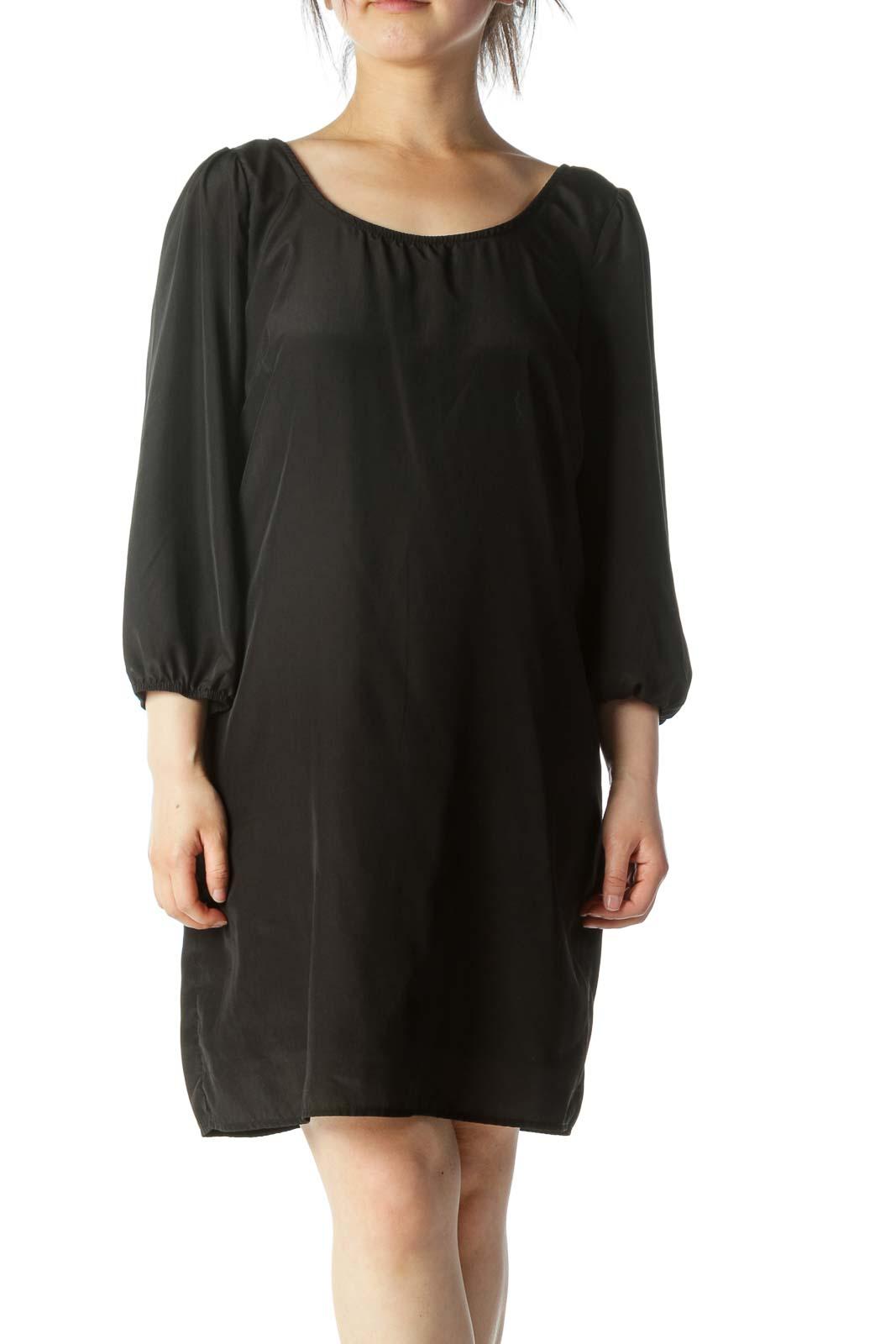 Black Shiny Back Zippered Midi Dress Front