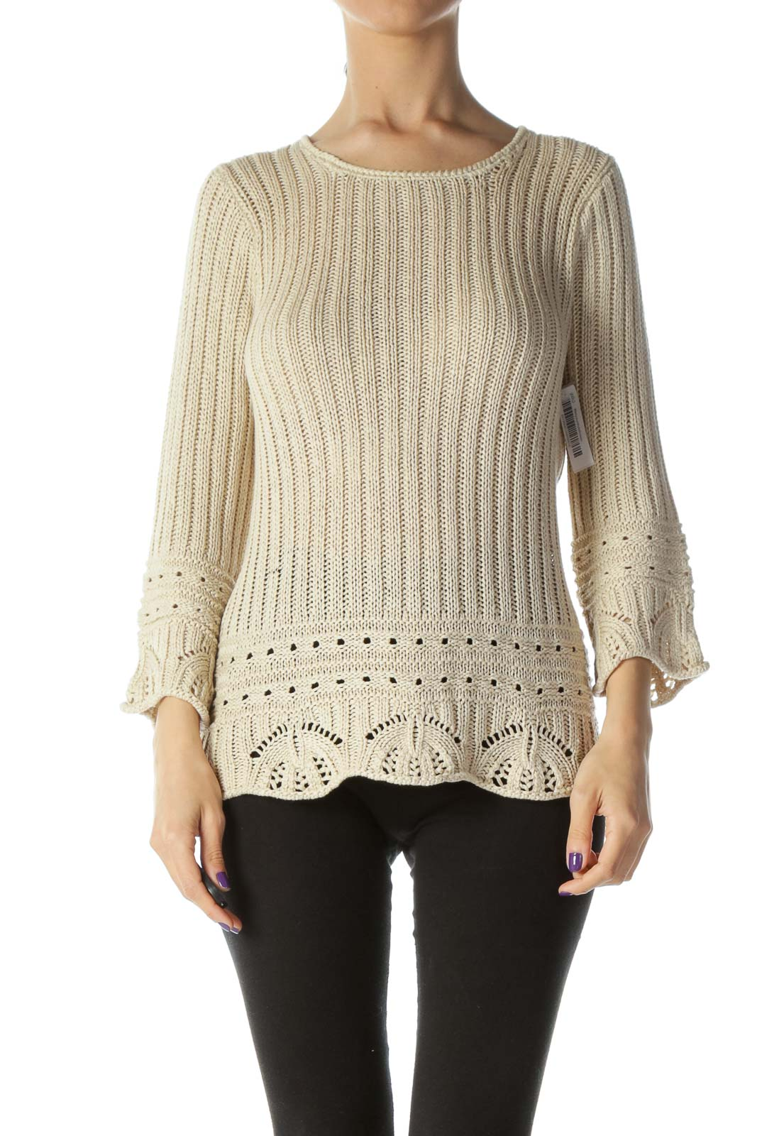 Beige Loose Knit Sweater Front