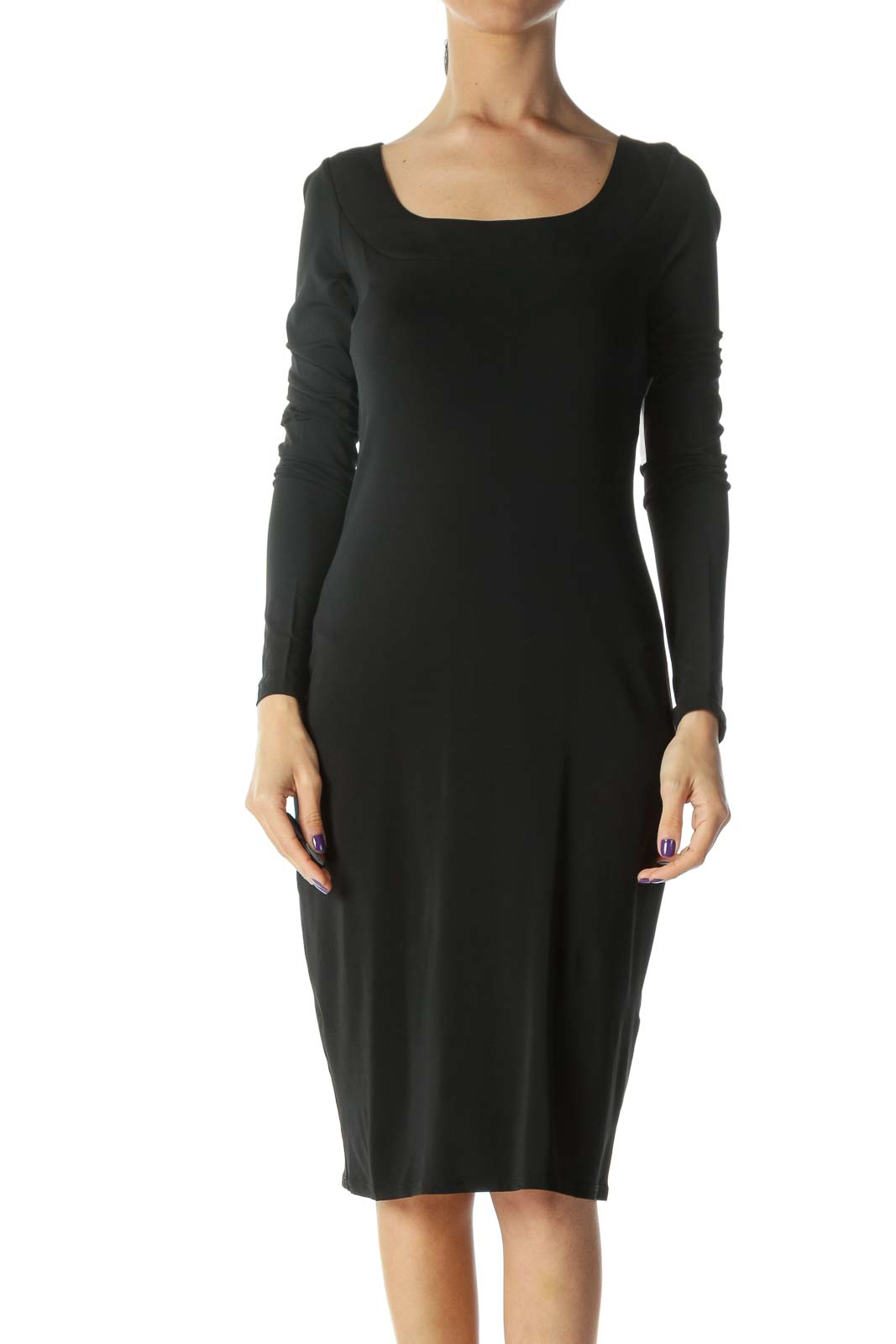 Black Cowl Back Dress Front