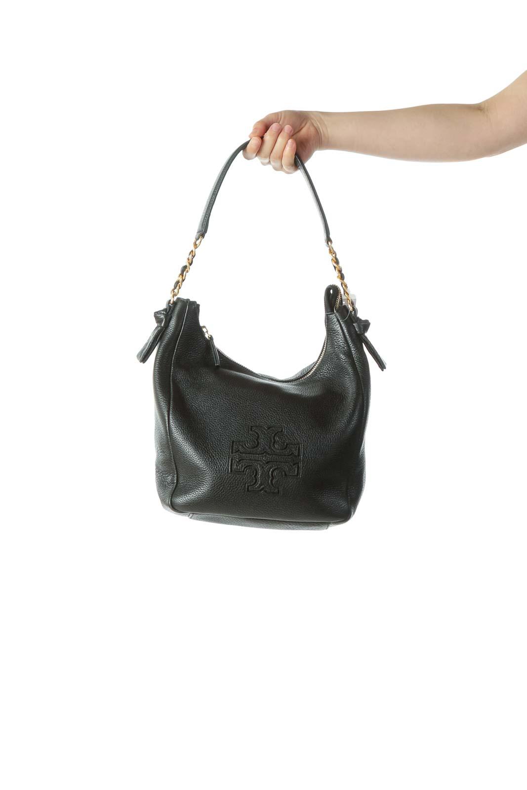 Black Gold Leather Hobo Bag Front