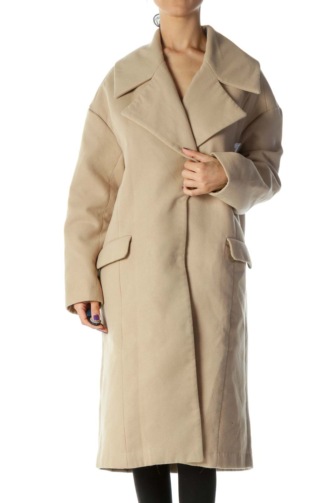 Beige Pocketed Long Single Breasted Coat Front
