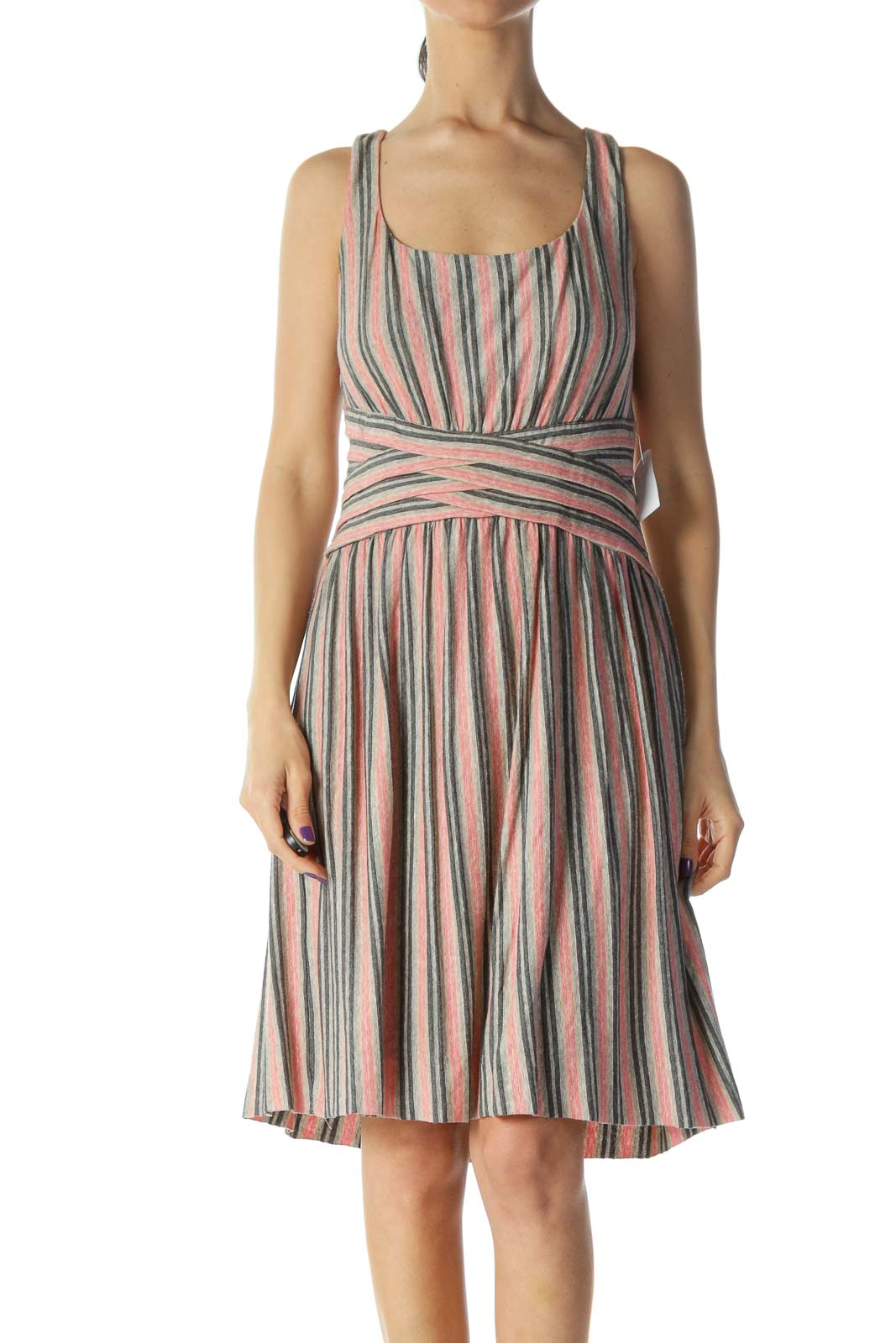 Beige Pink Printed Jersey Dress Front