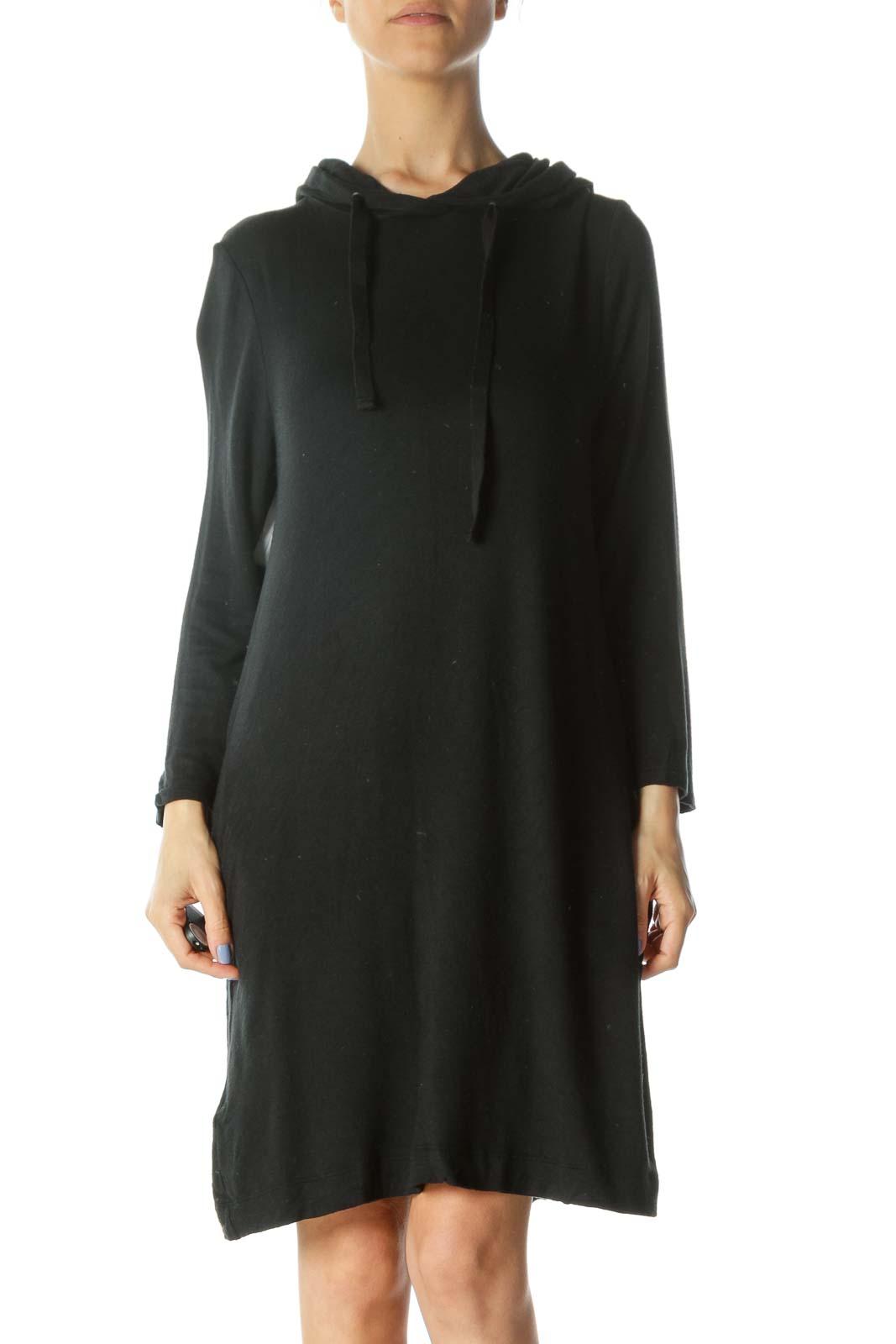 Black Hooded 3/4-Sleeve Soft Jersey-Knit Dress Front