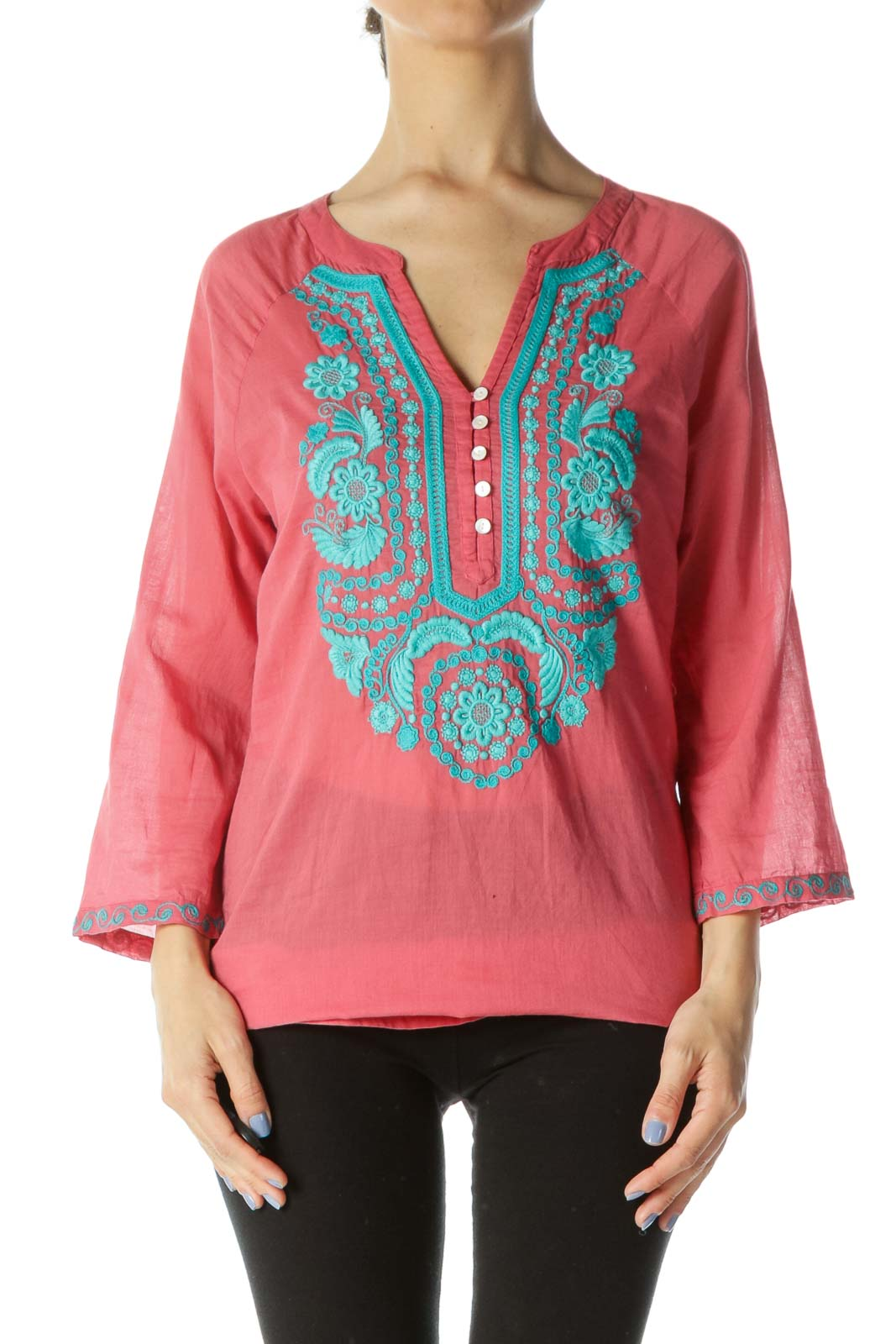Coral-Pink/Blue Buttoned Embroidered Accent Tunic Front
