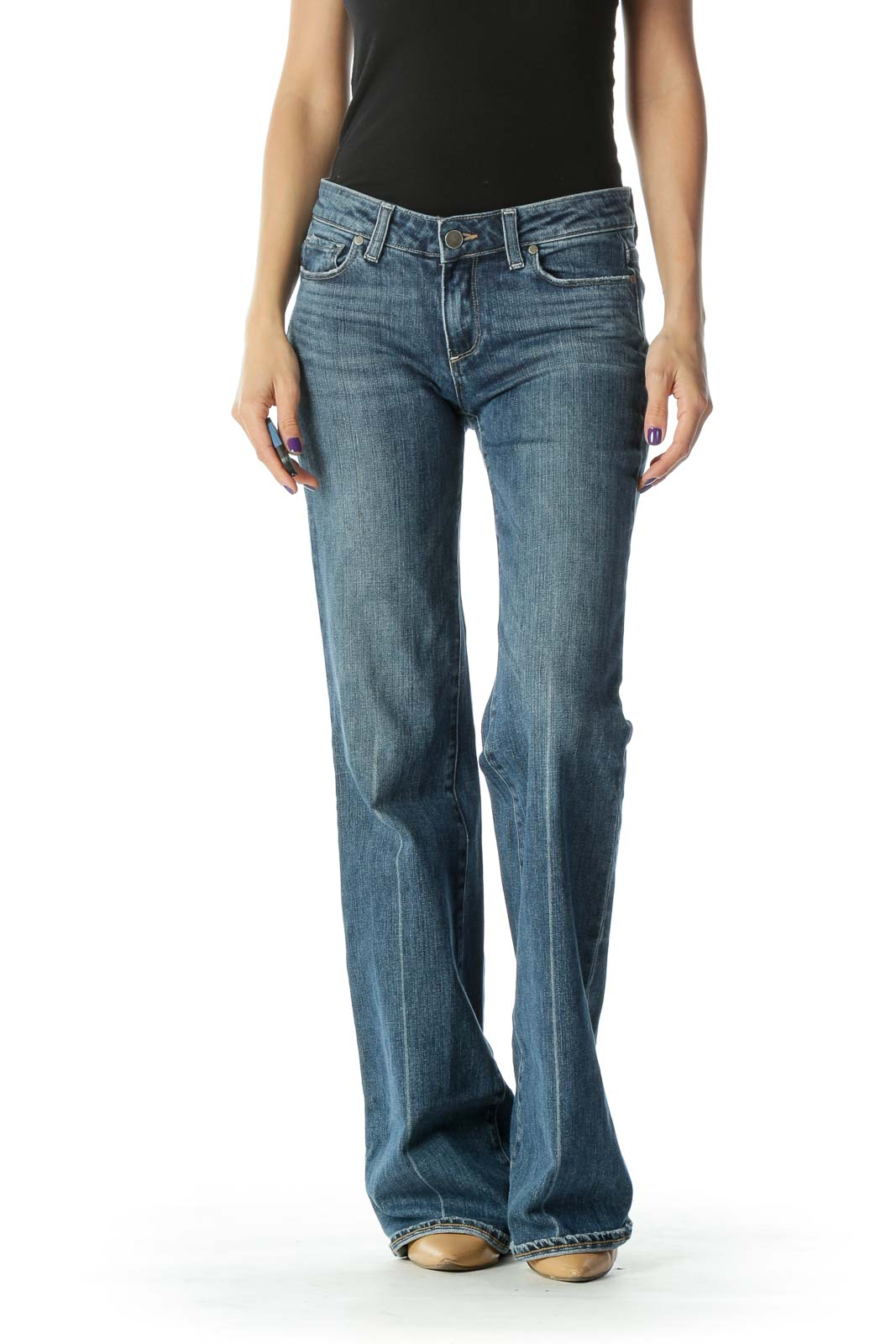 Blue Flared Jean  Front