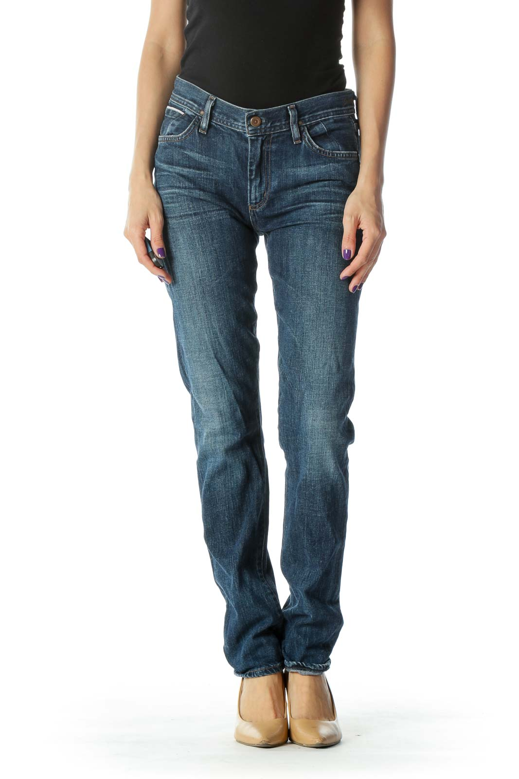 Blue Faded Skinny Jean Front