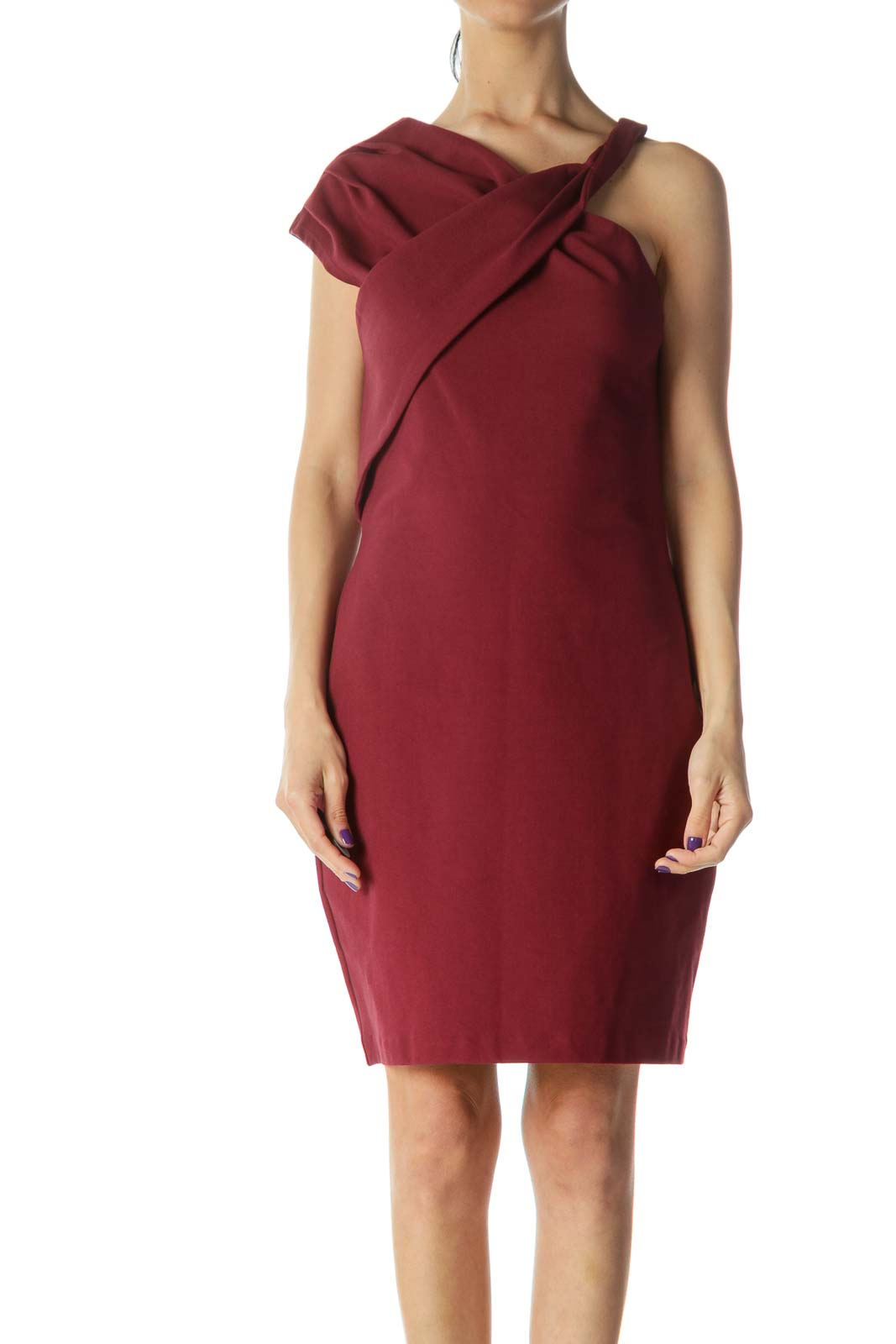 Red Asymmetric Bodycon Dress Front