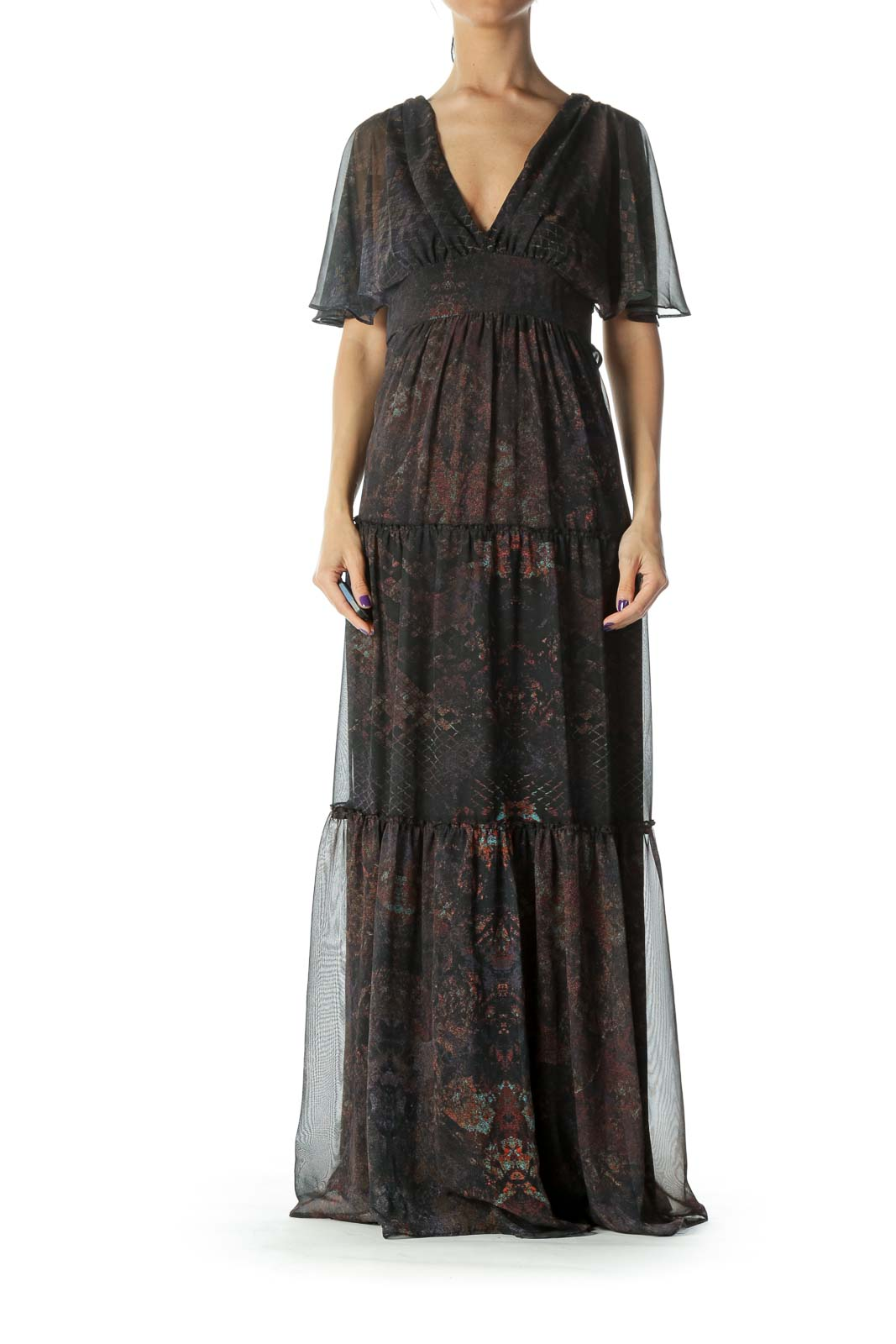 Black Print Silk Maxi Dress Front