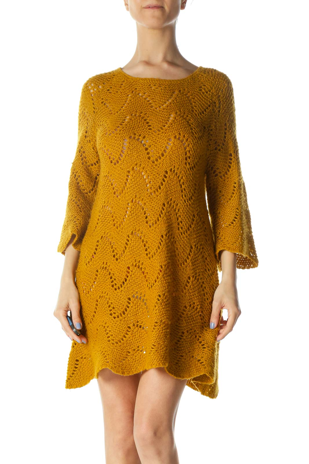 Mustard-Yellow Round-Neck Long-Sleeve Knit See-Through Dress Front