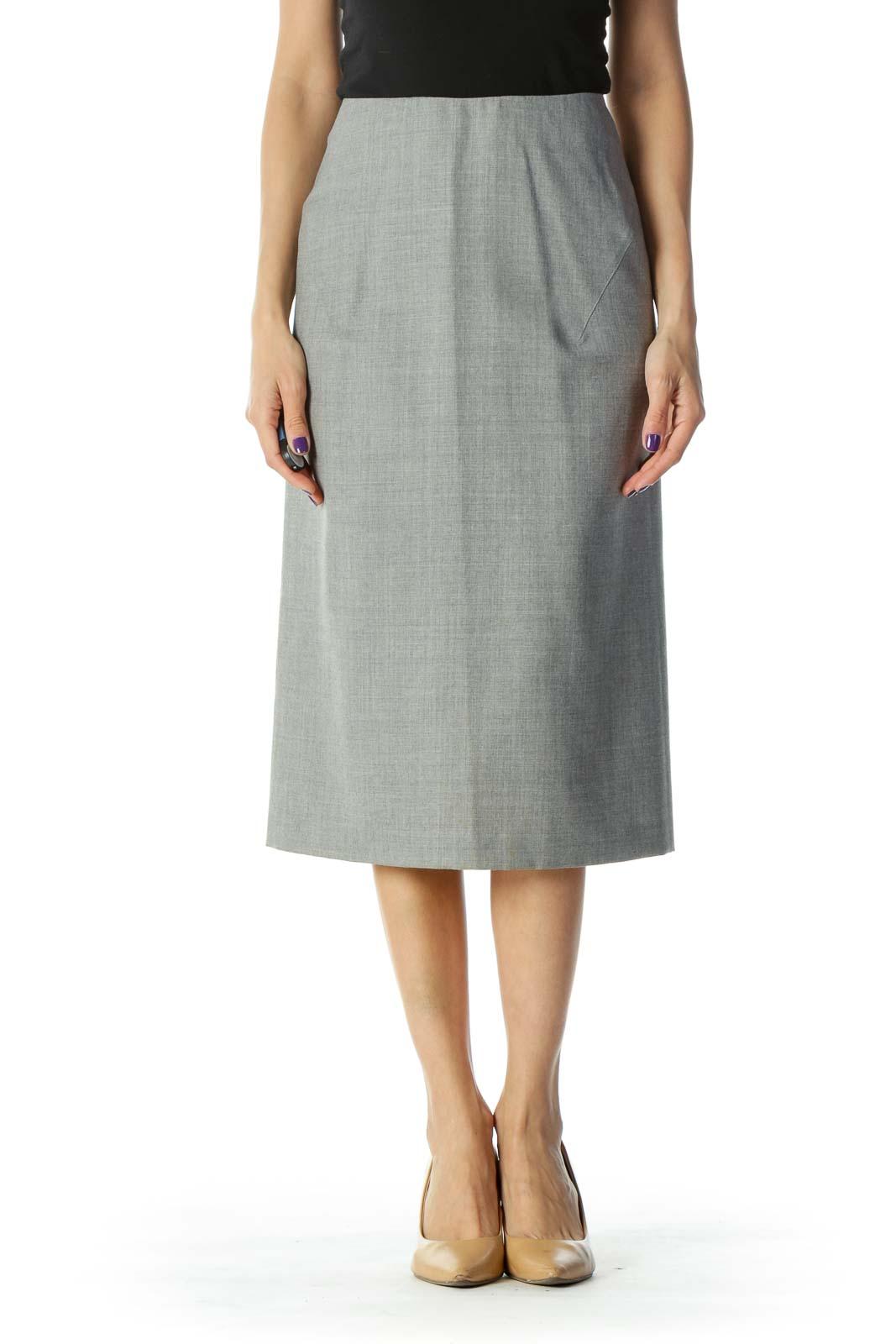 Gray Midi Pencil Skirt Front