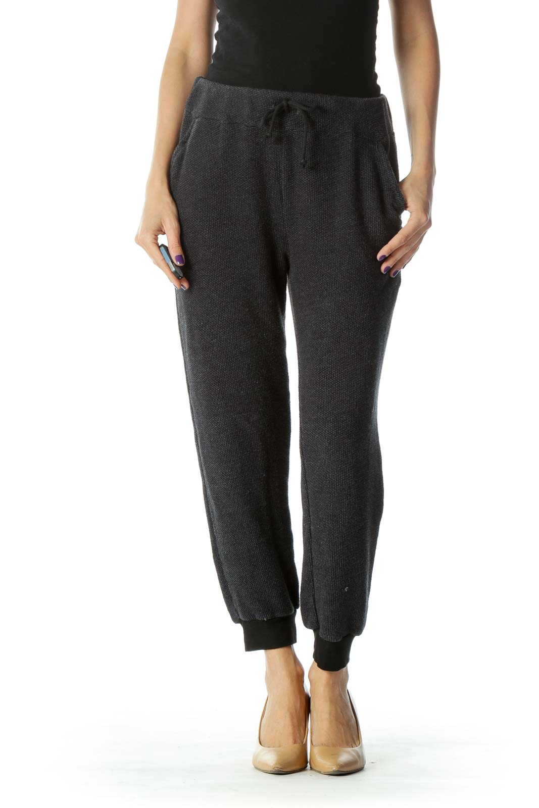 Navy Knit Cropped Pant Front