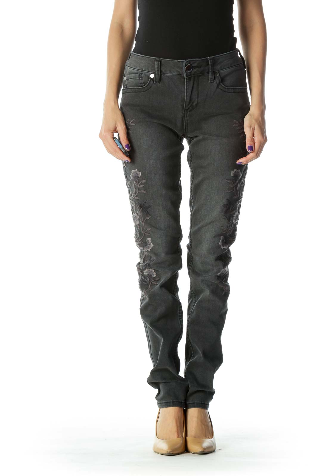 Black Embroidered Skinny Jean Front