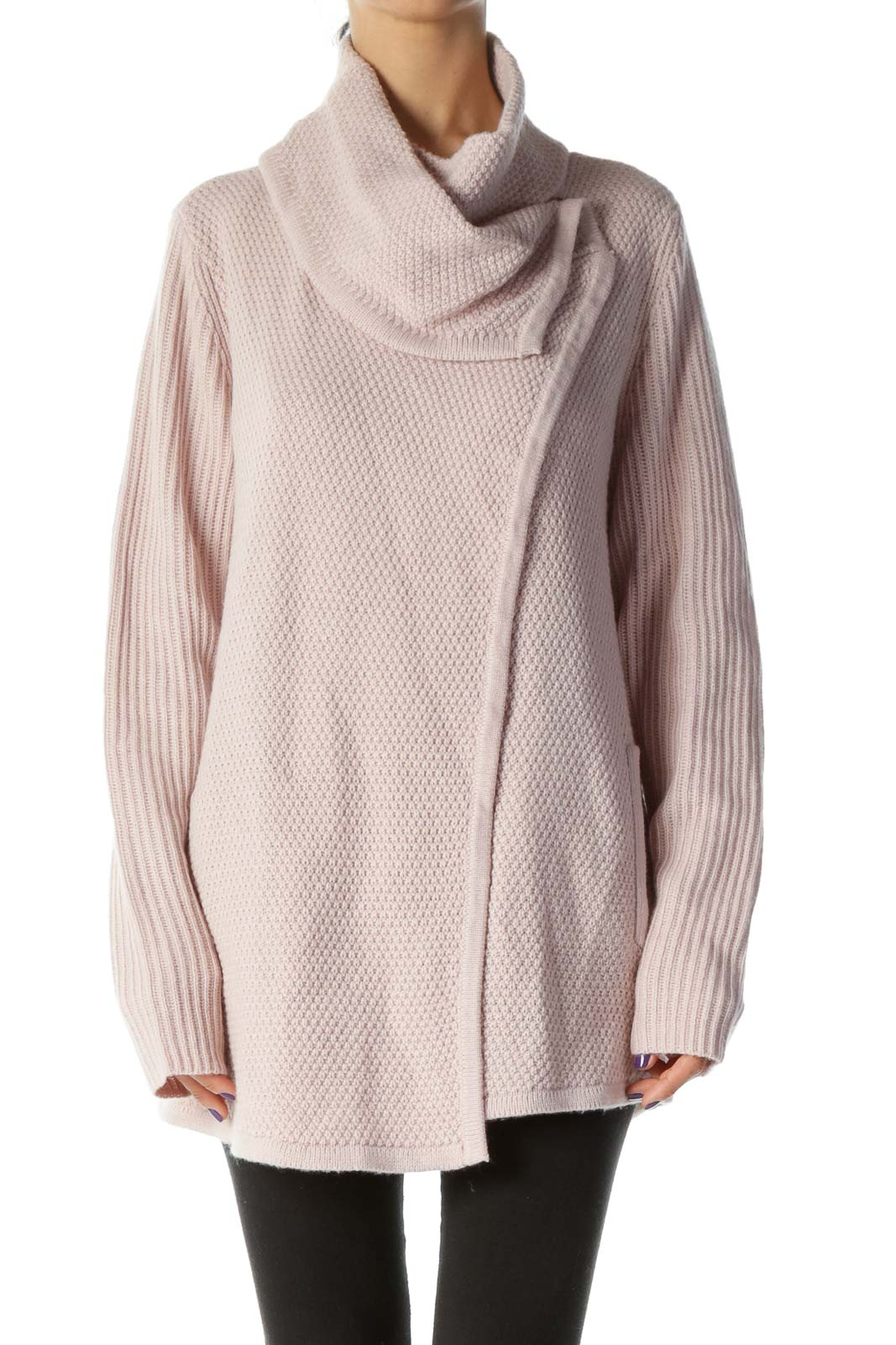 Dusty Pink Loose Knit Cardigan Front