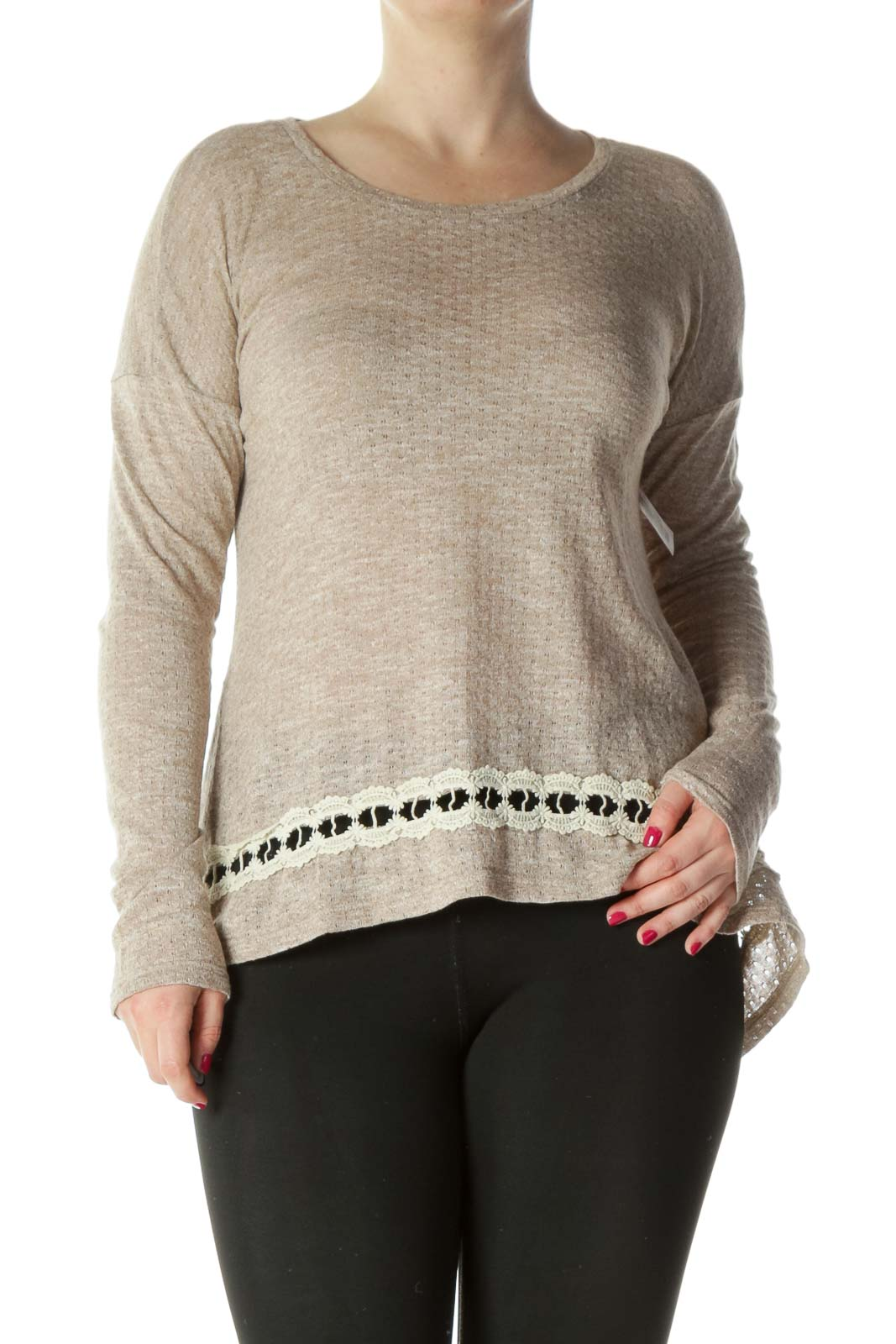 Beige Lace Detail Long Sleeve Top Front