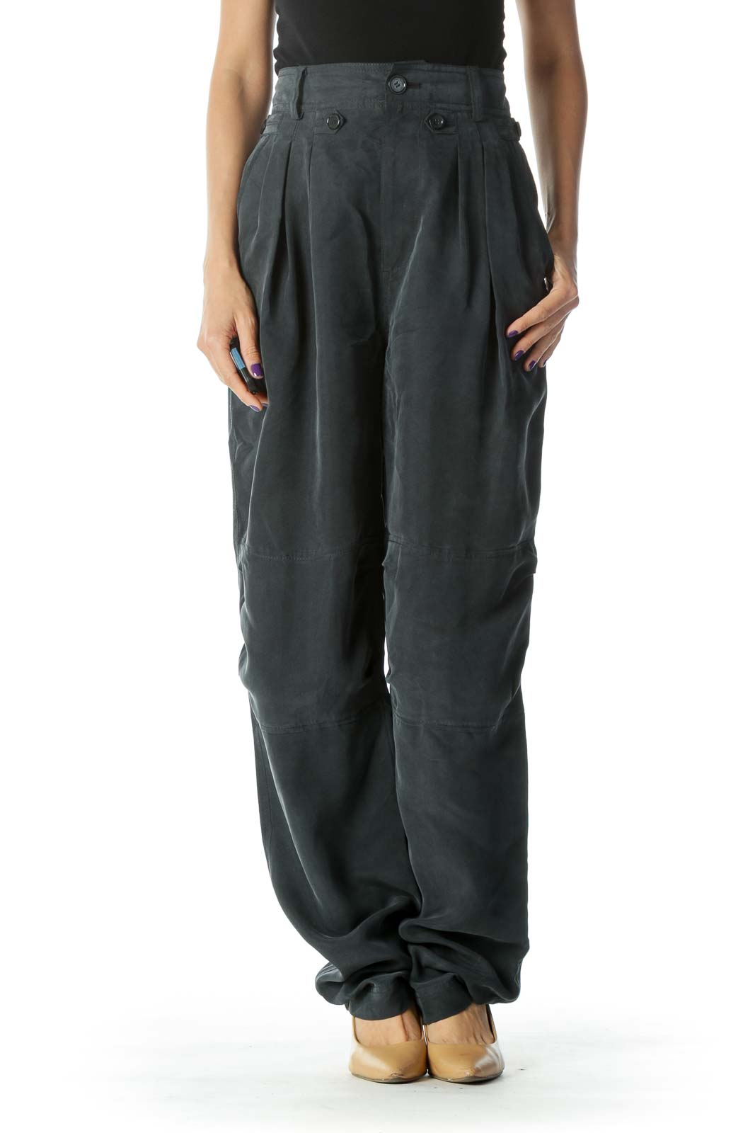 Navy Silk Tapered Pant Front