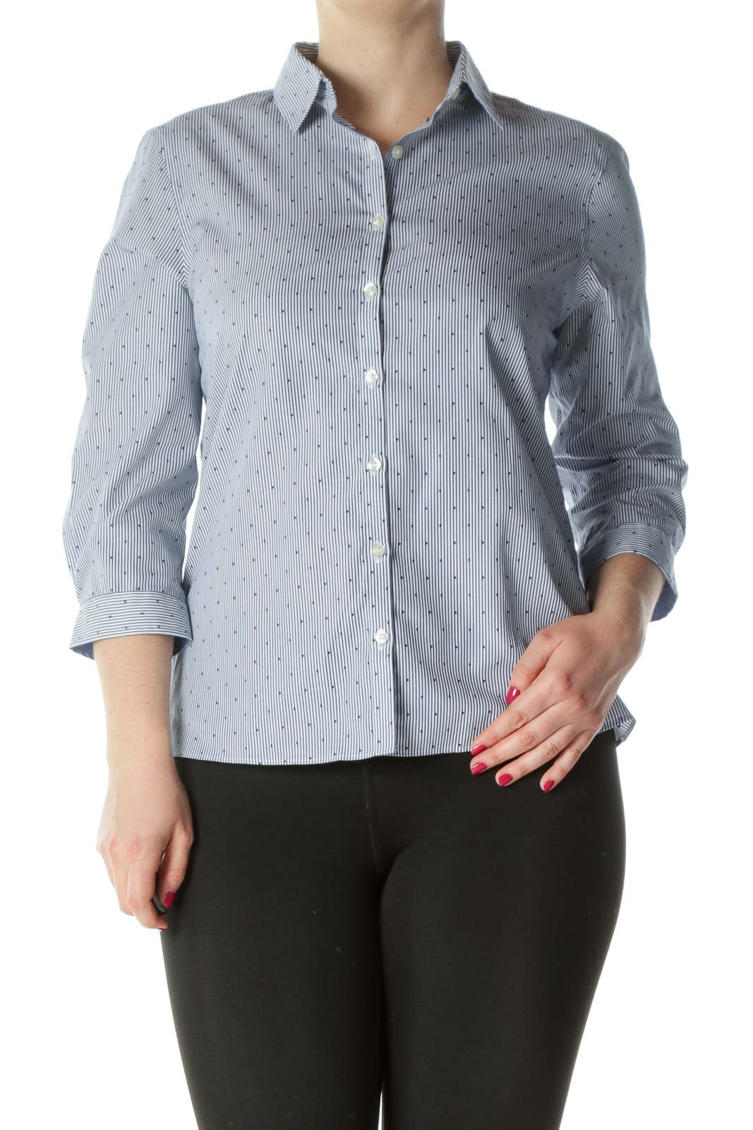 Blue Printed Shirt Front