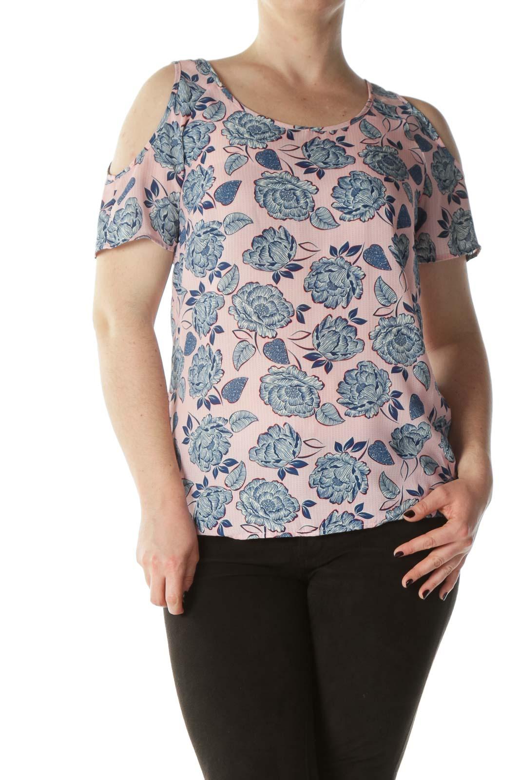 Multicolored Cold-Shoulder Floral-Print Blouse Front