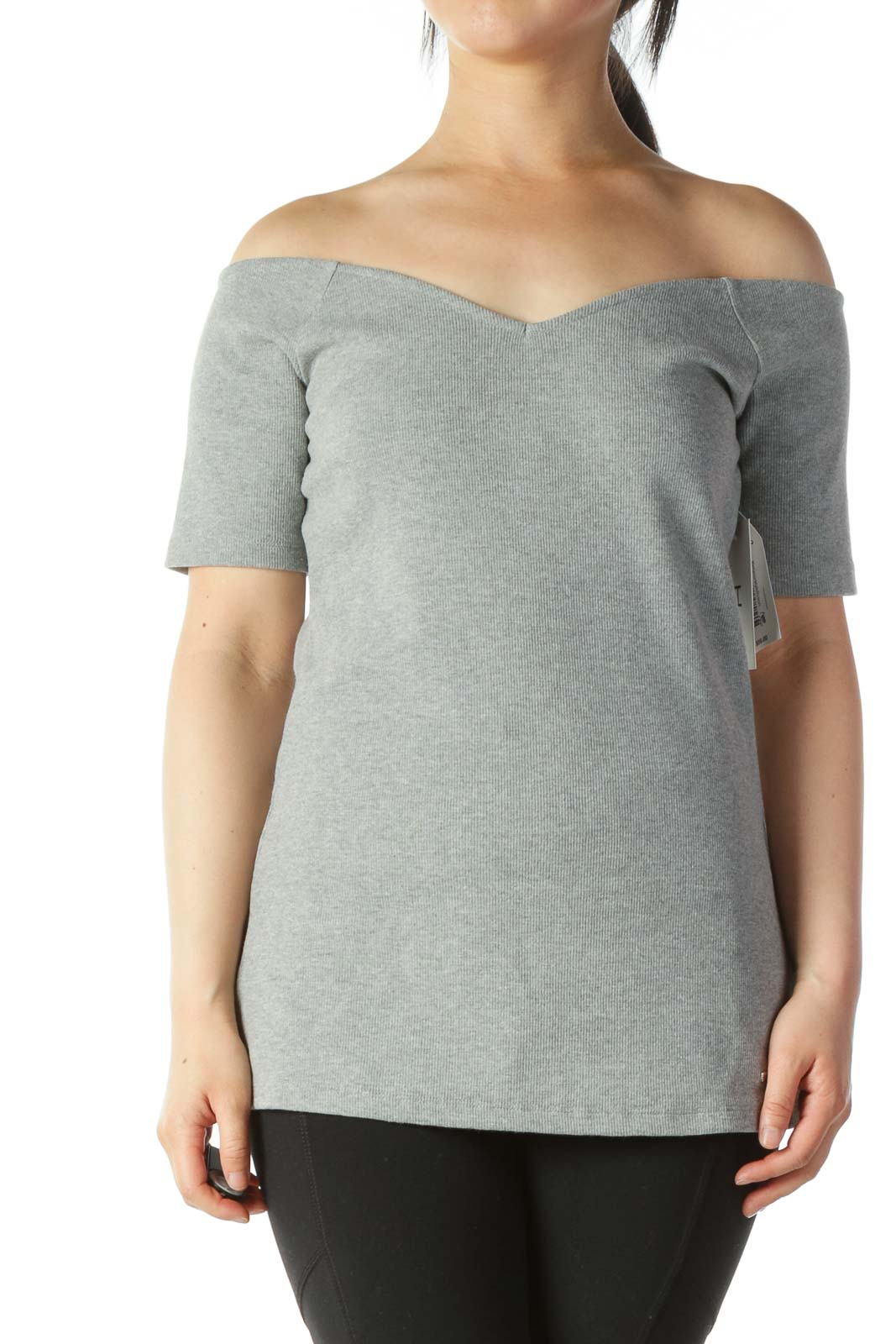 Gray V-Neck Cold Shoulders Stretch Top Front