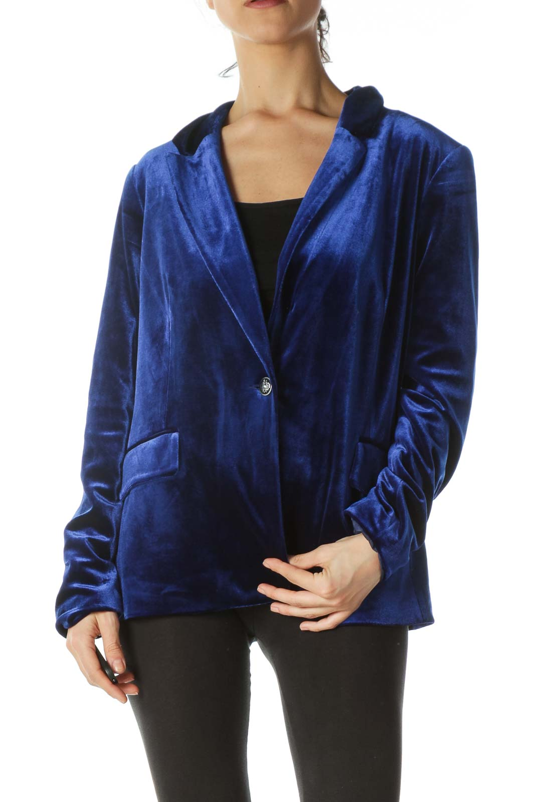 Royal Blue One-Button Velvet Blazer Front
