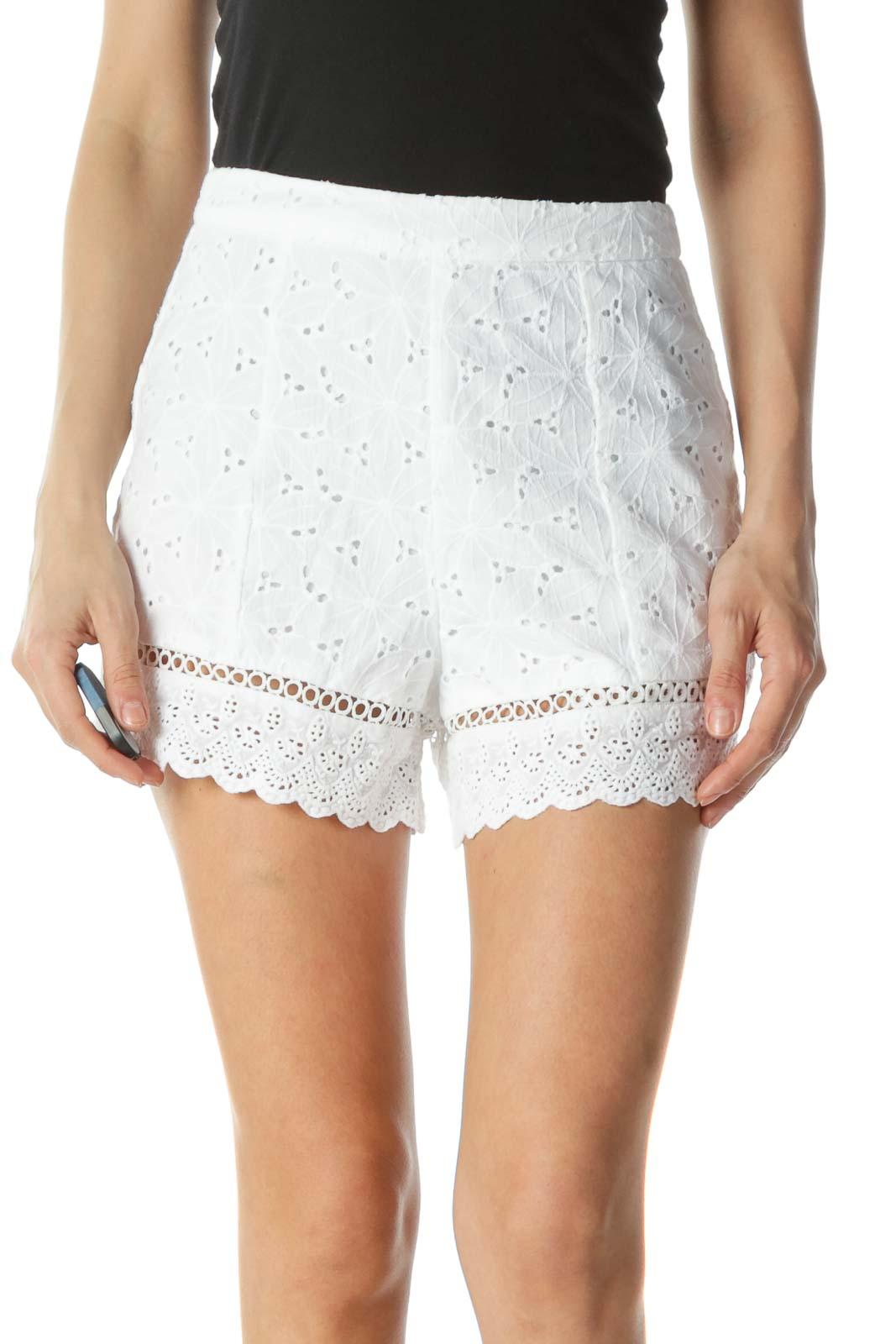 White Eyelet High Waisted Shorts  Front