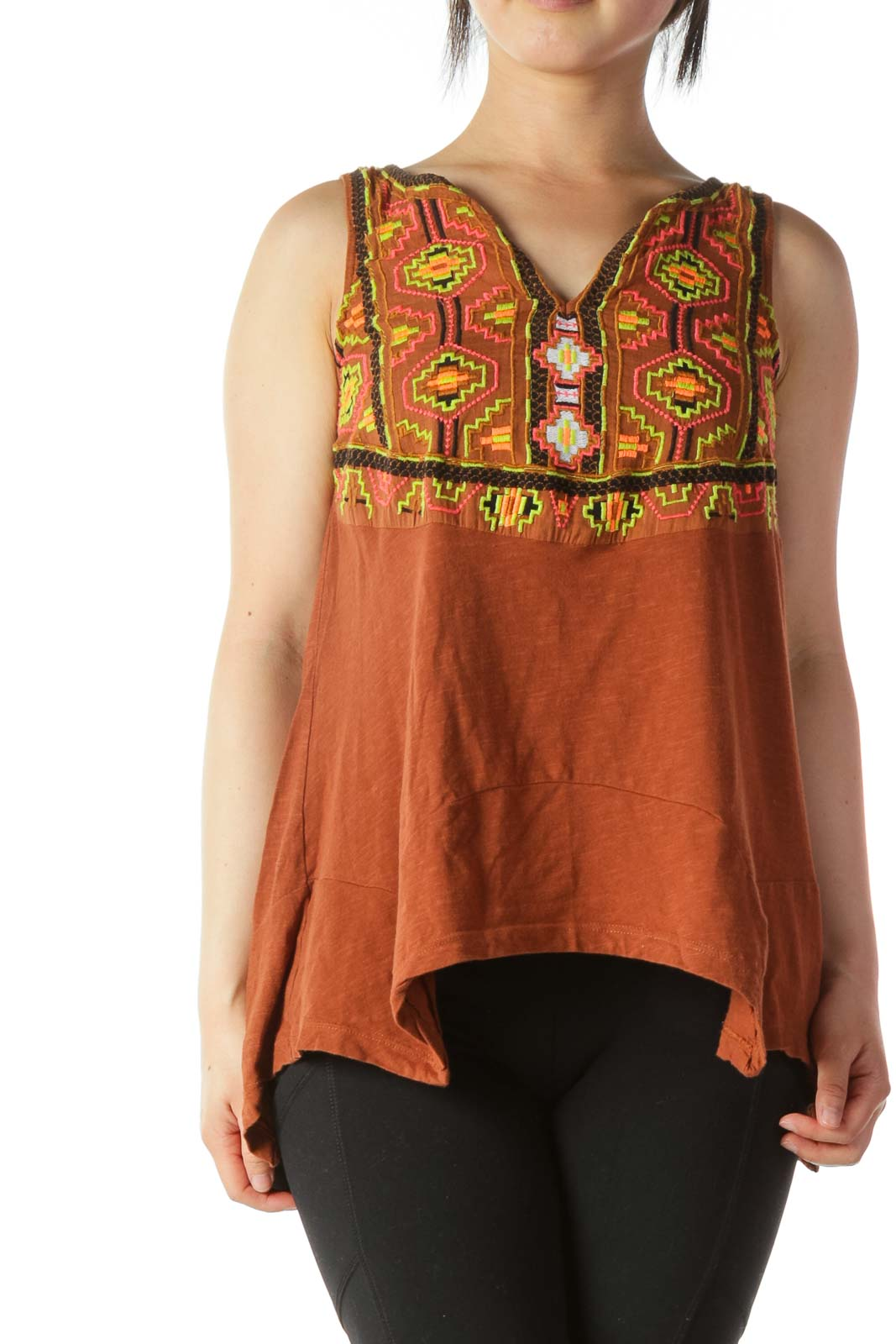 Multicolored 100% Cotton Embroidered-Accent Tank Front