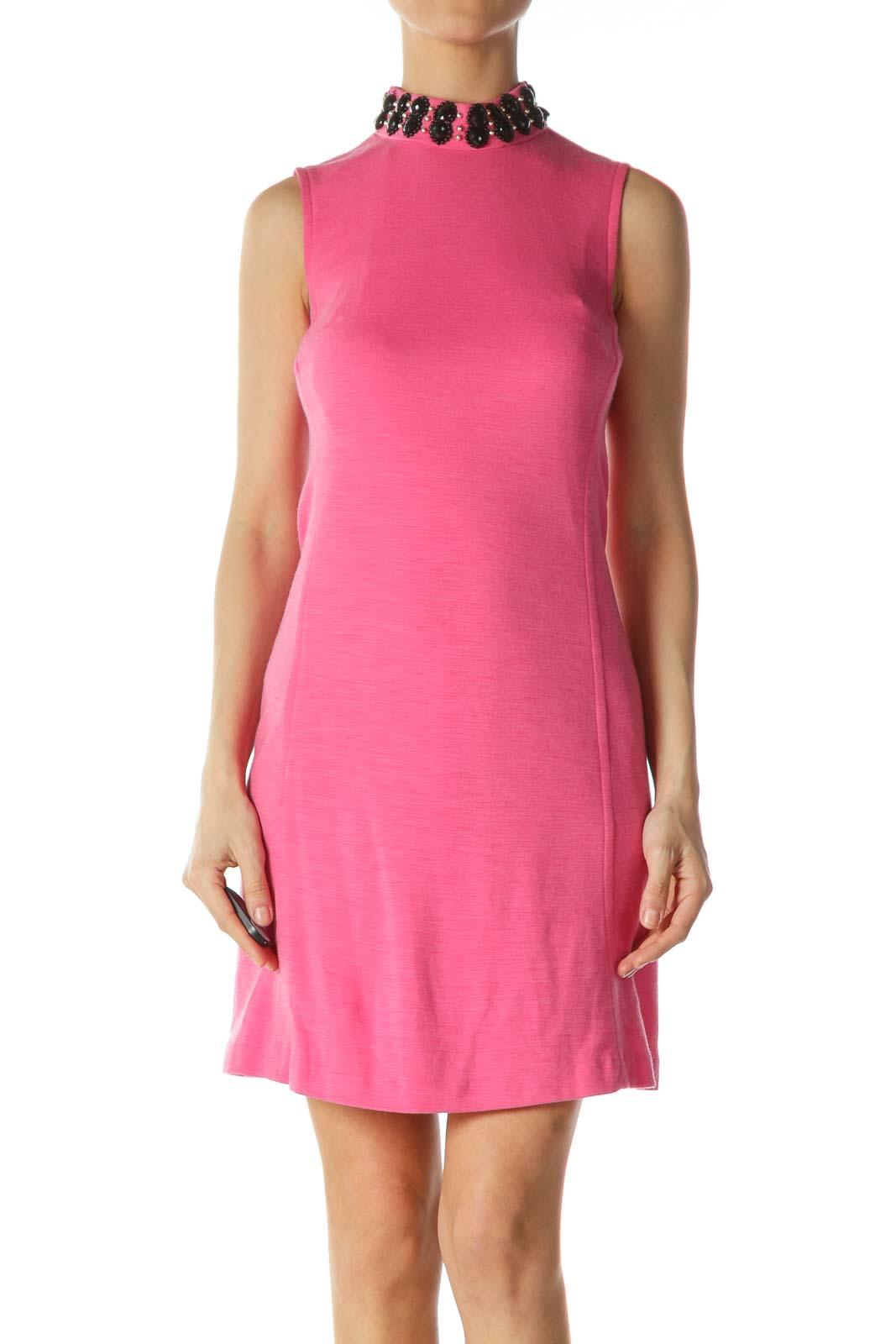 Pink High-Neckline Embellished Dress Front