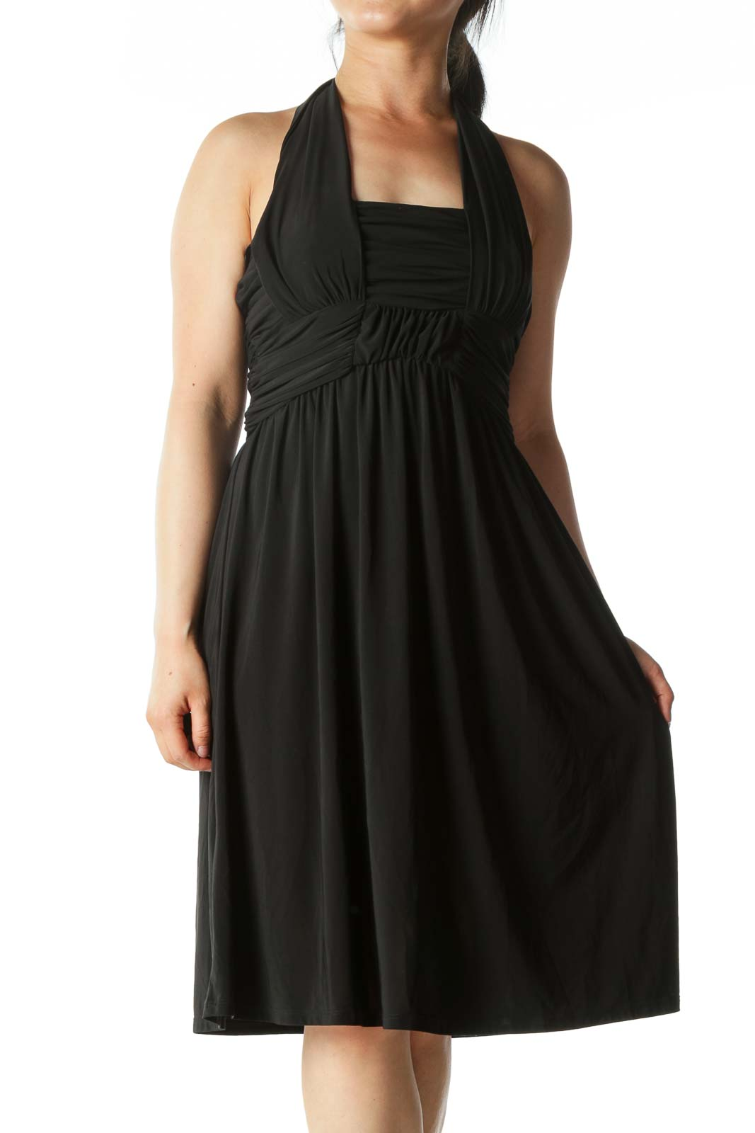 Black Stretch Scrunched Halter-Neck Cocktail Dress Front